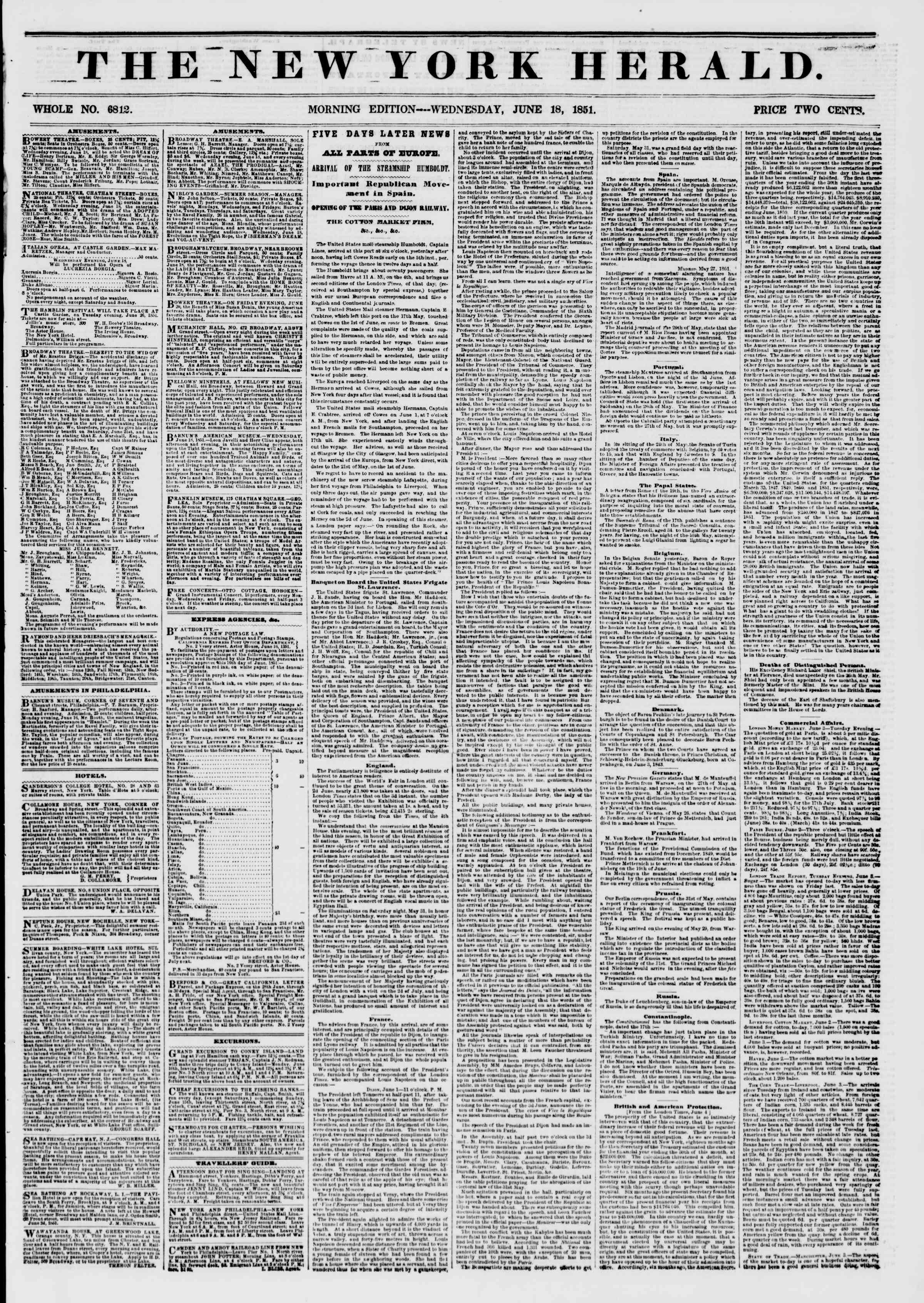 Newspaper of The New York Herald dated June 18, 1851 Page 1