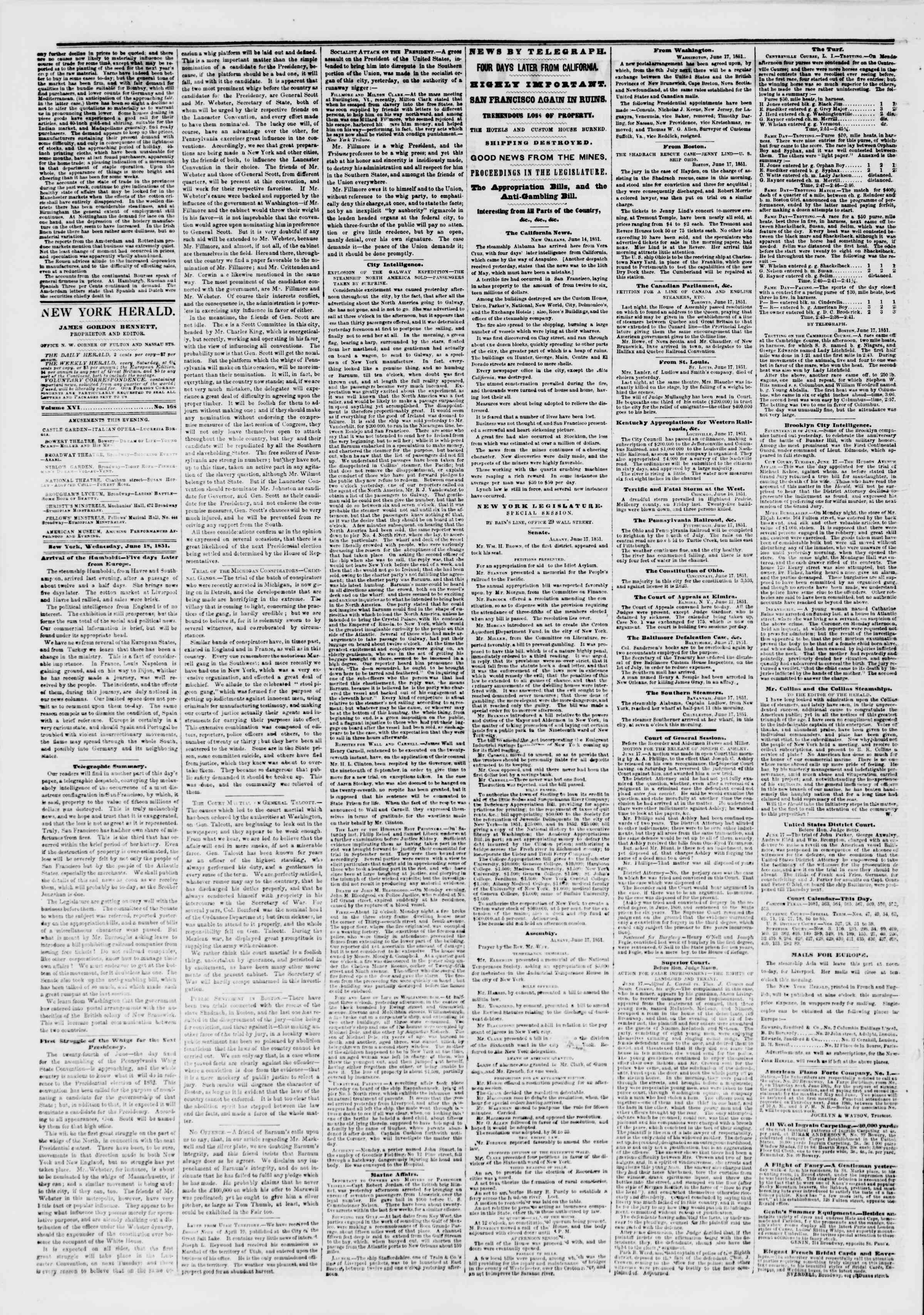 Newspaper of The New York Herald dated June 18, 1851 Page 2