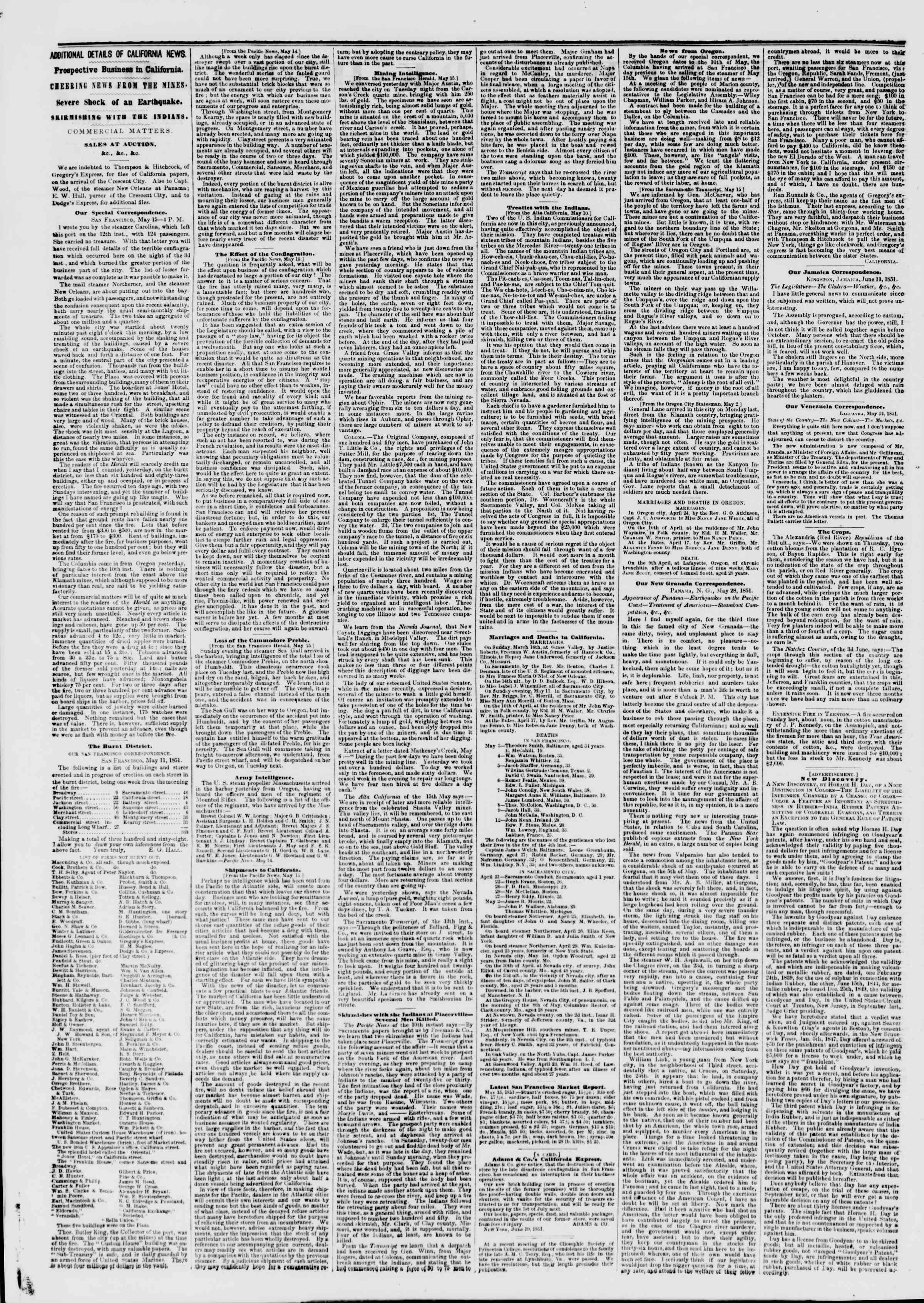 Newspaper of The New York Herald dated June 20, 1851 Page 2