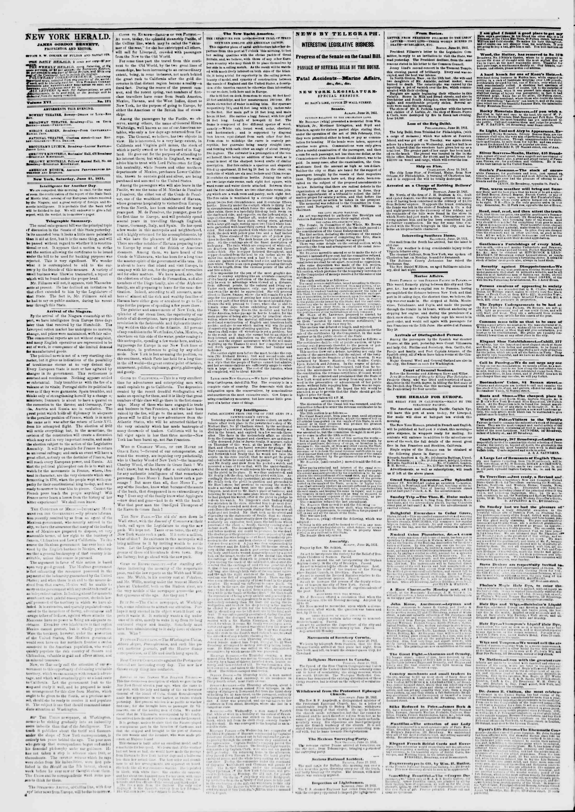 Newspaper of The New York Herald dated June 21, 1851 Page 2