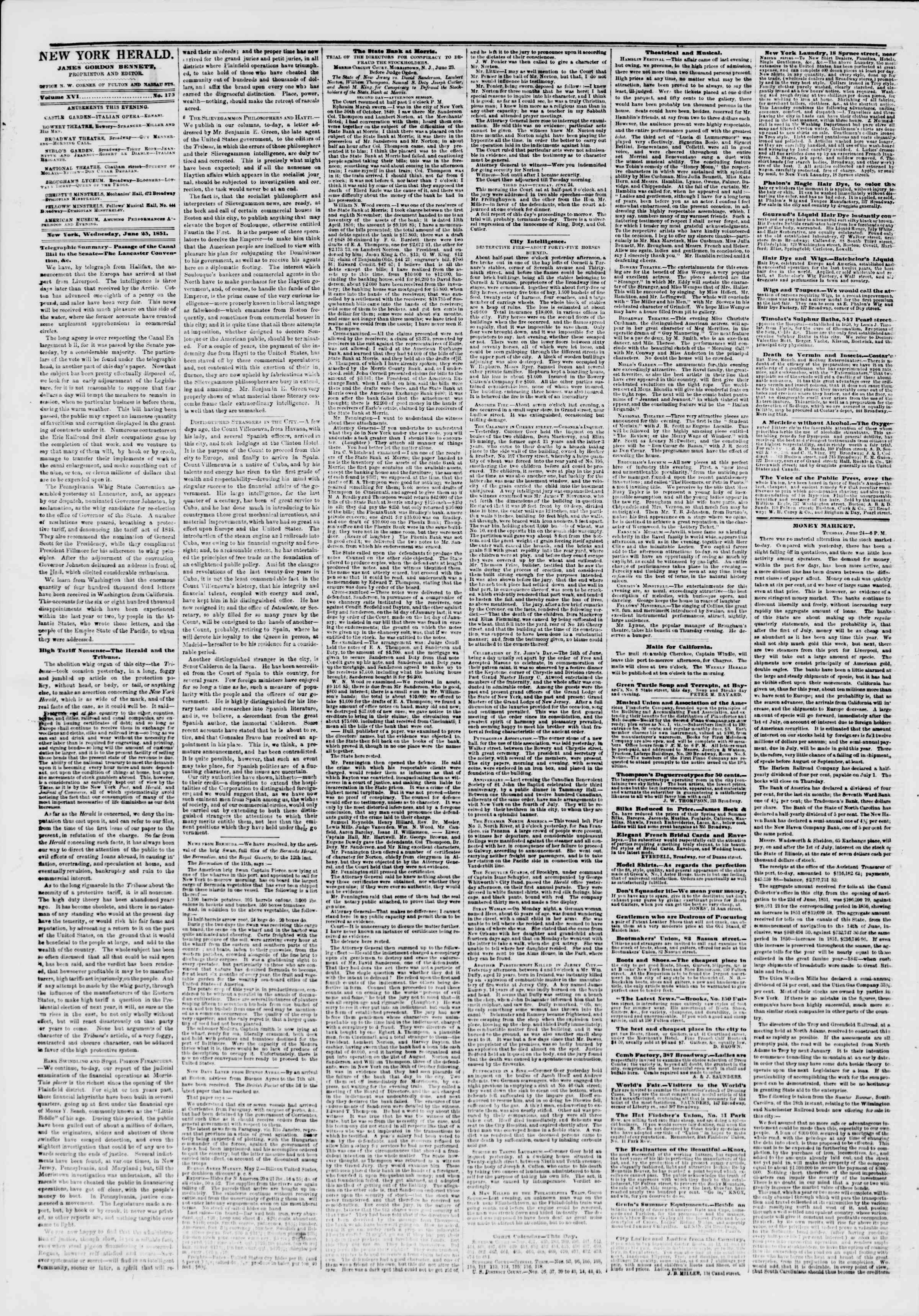 Newspaper of The New York Herald dated June 25, 1851 Page 2