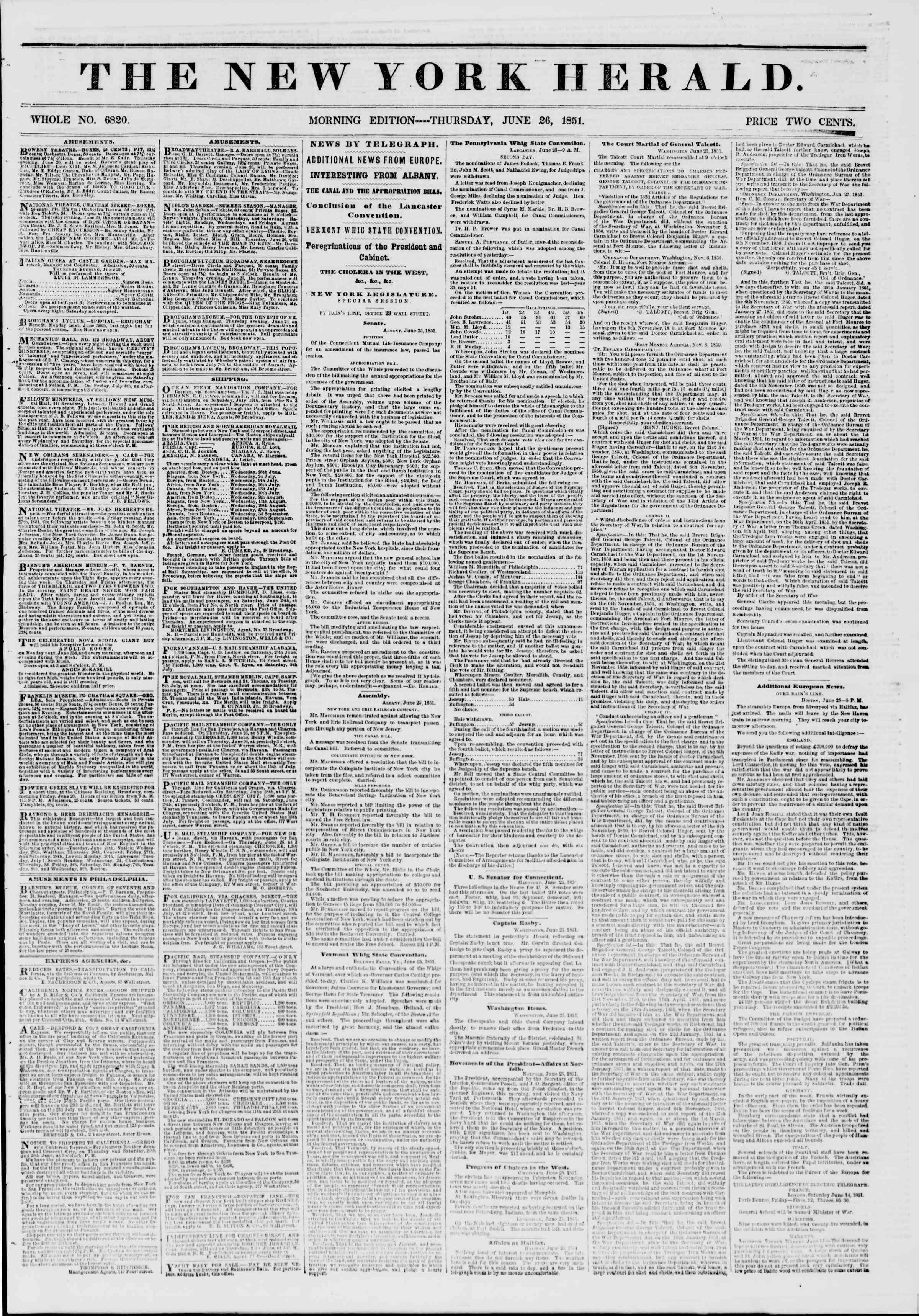 Newspaper of The New York Herald dated June 26, 1851 Page 1