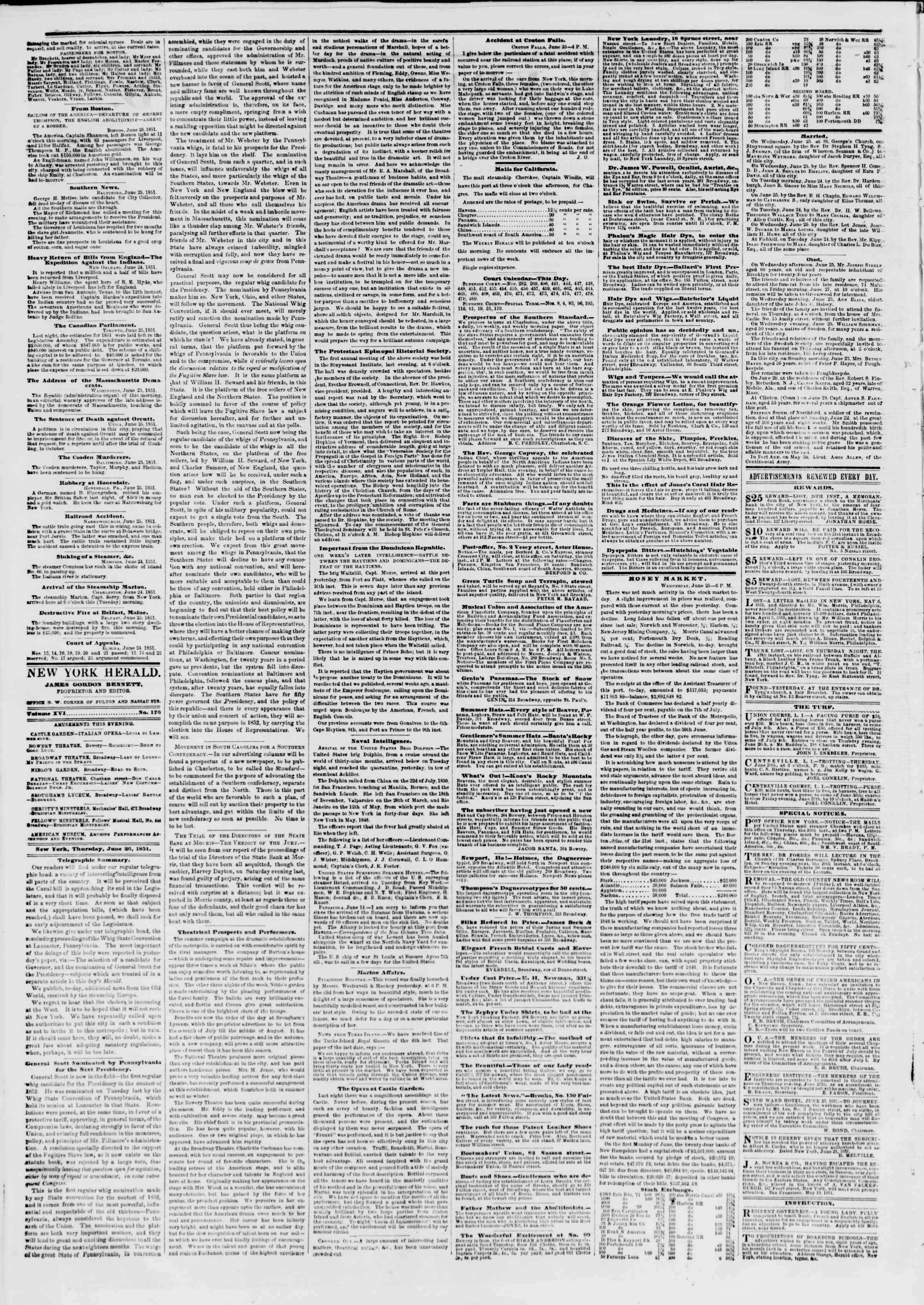 Newspaper of The New York Herald dated June 26, 1851 Page 2