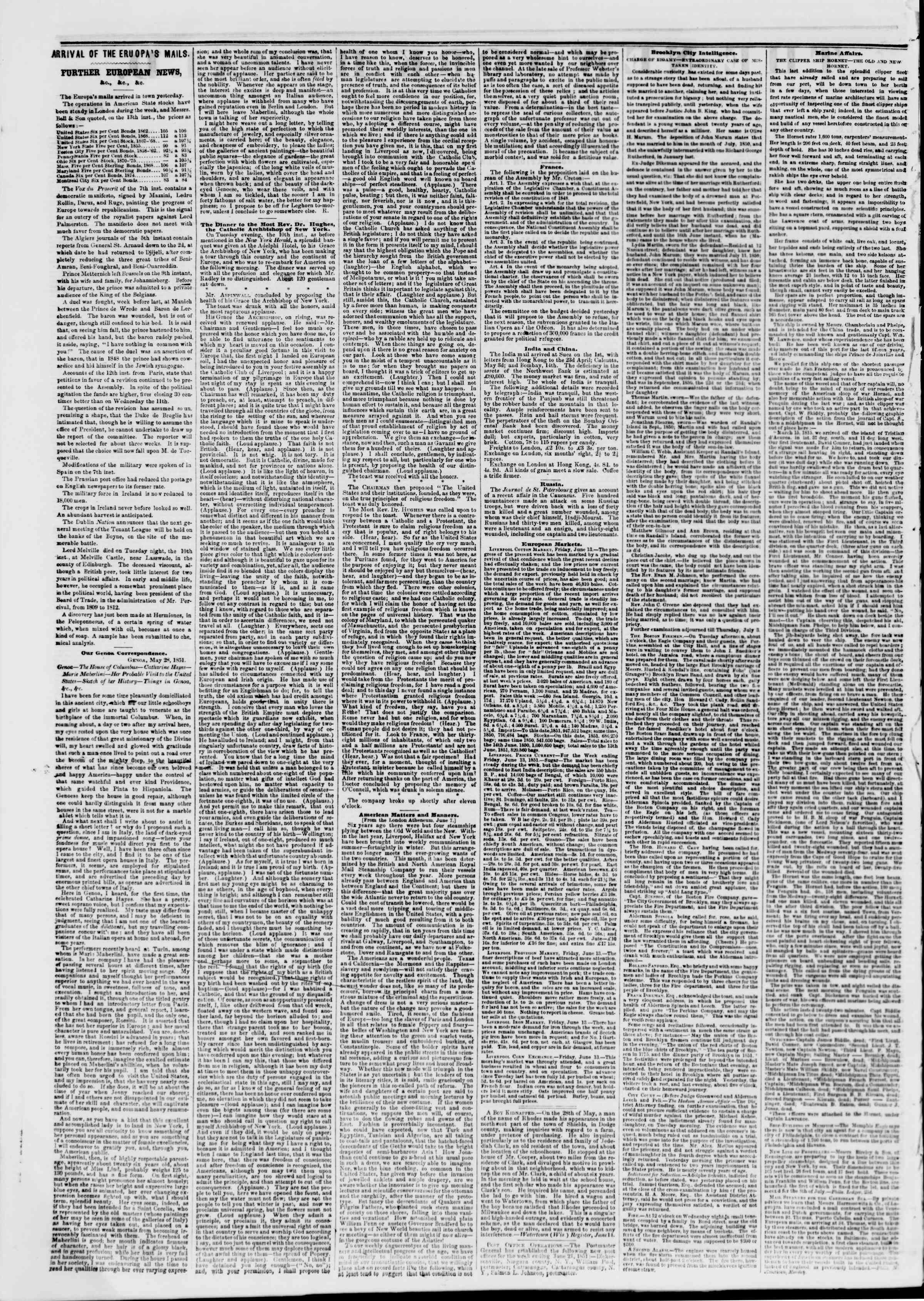 Newspaper of The New York Herald dated June 27, 1851 Page 2