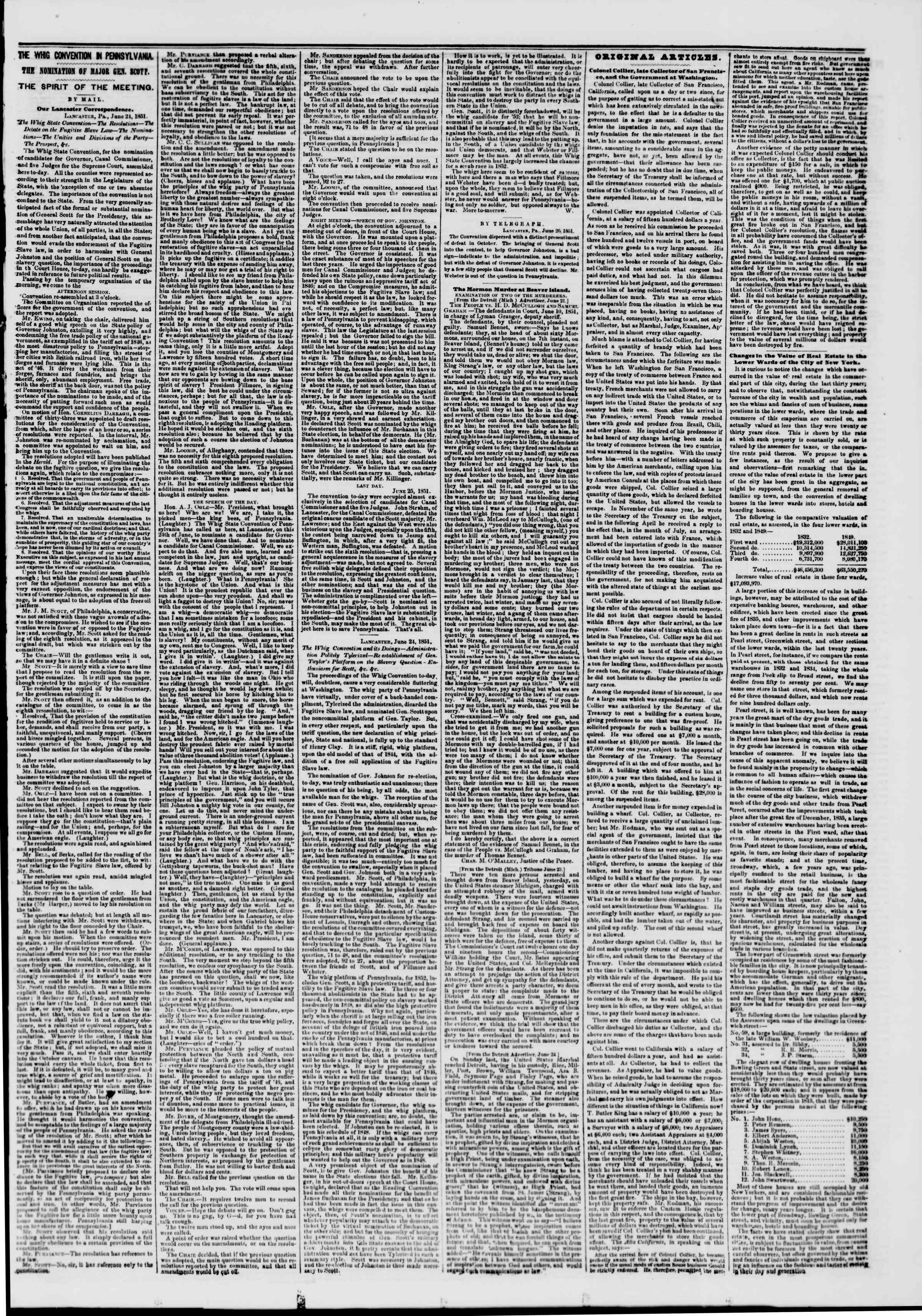 Newspaper of The New York Herald dated June 27, 1851 Page 3