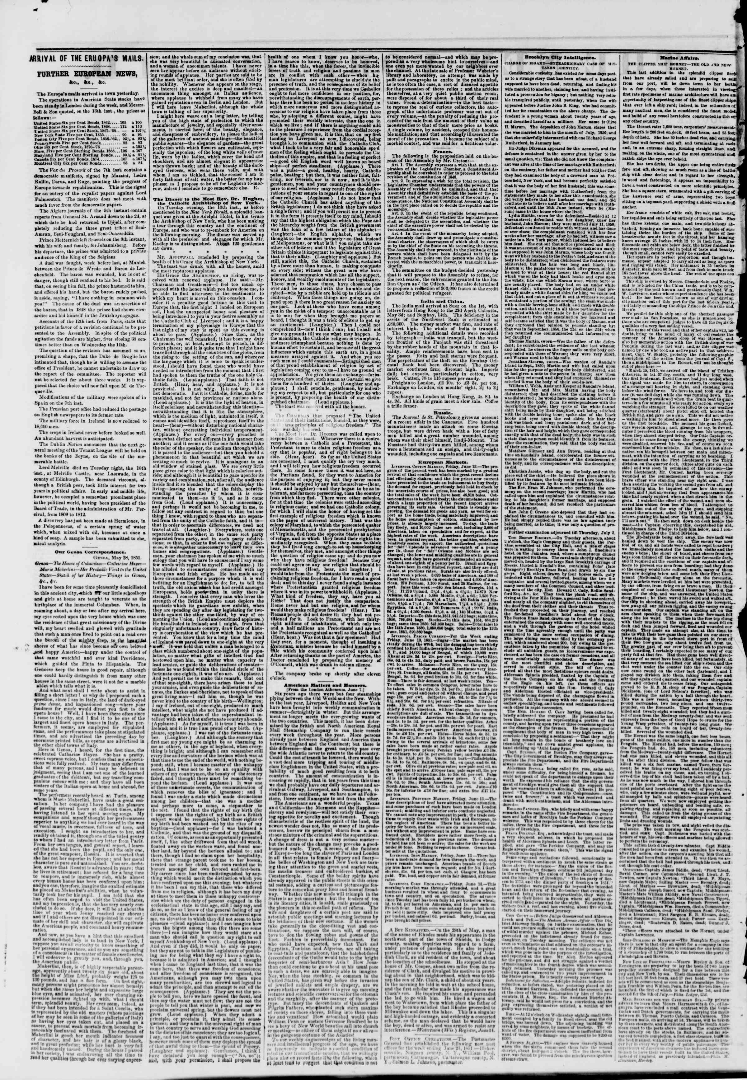 Newspaper of The New York Herald dated June 27, 1851 Page 4