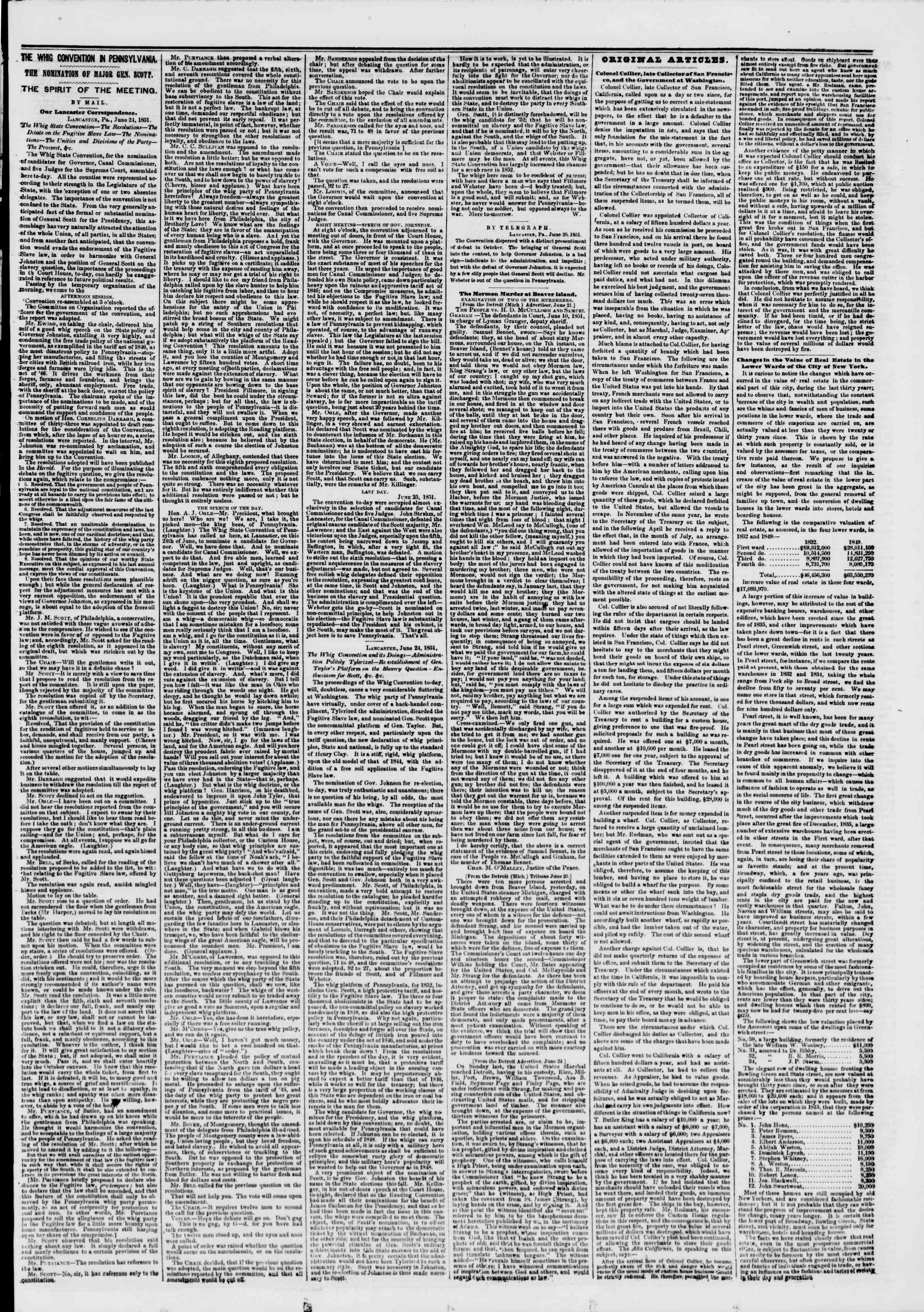 Newspaper of The New York Herald dated June 27, 1851 Page 5