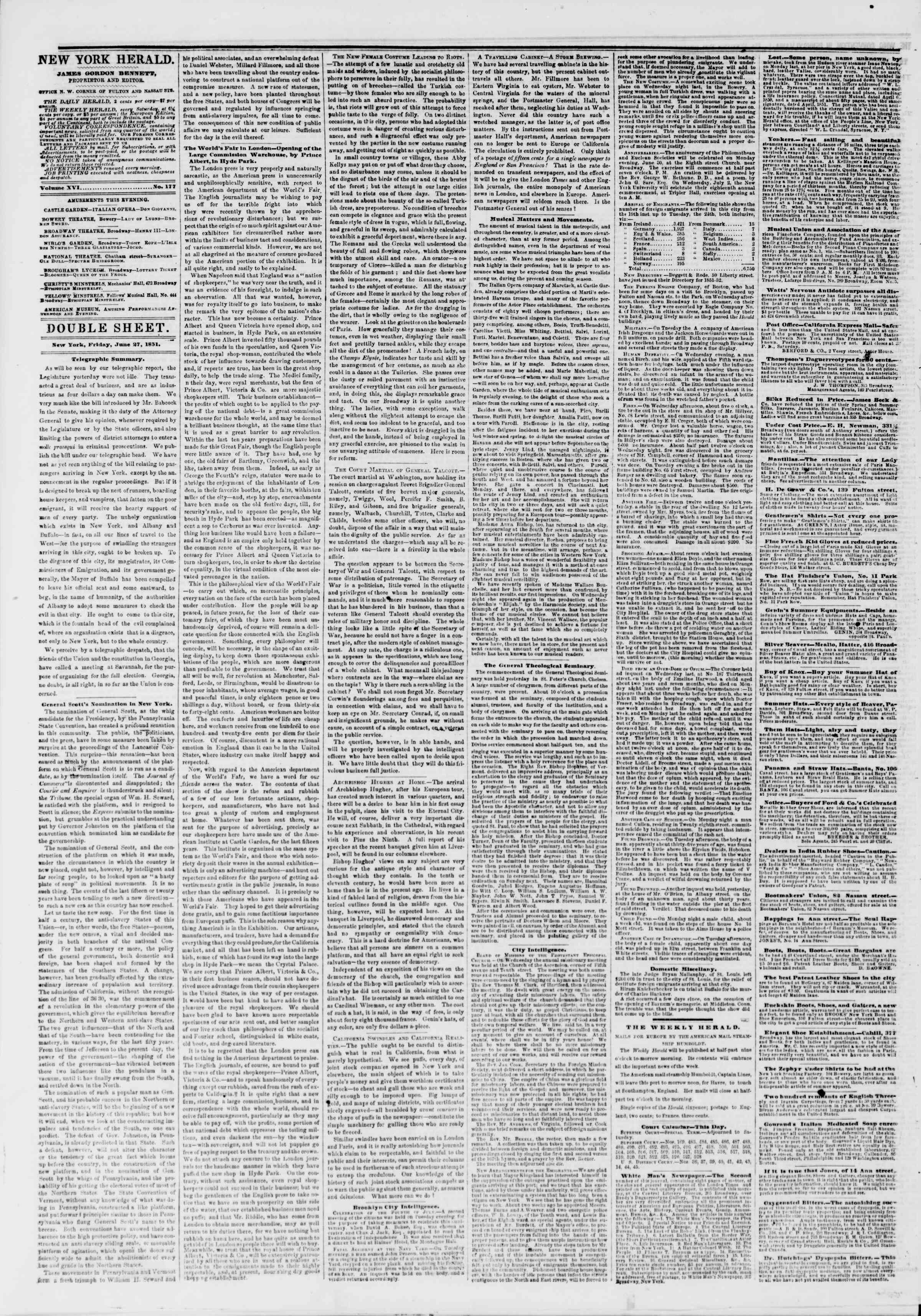 Newspaper of The New York Herald dated June 27, 1851 Page 6