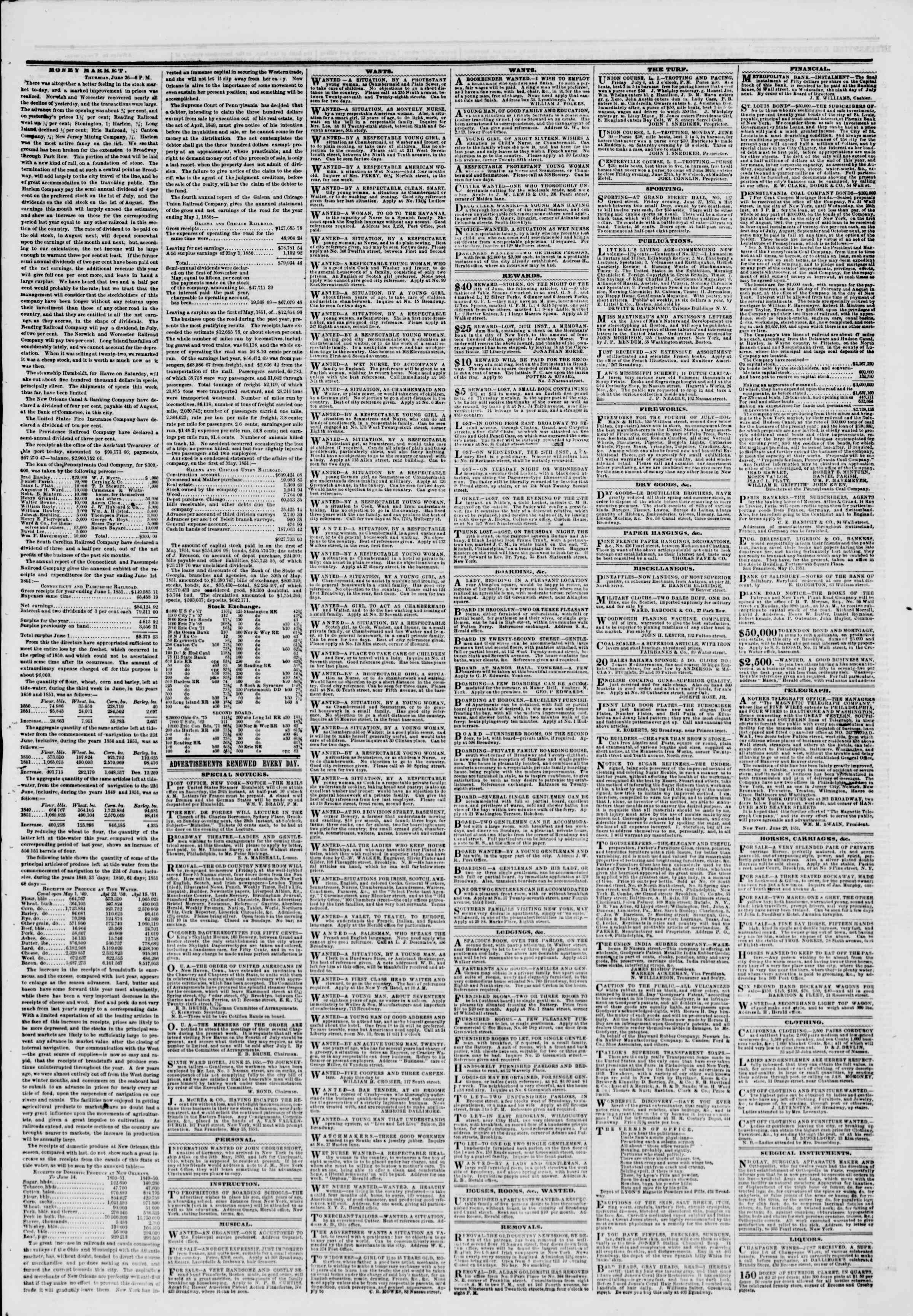 Newspaper of The New York Herald dated June 27, 1851 Page 7