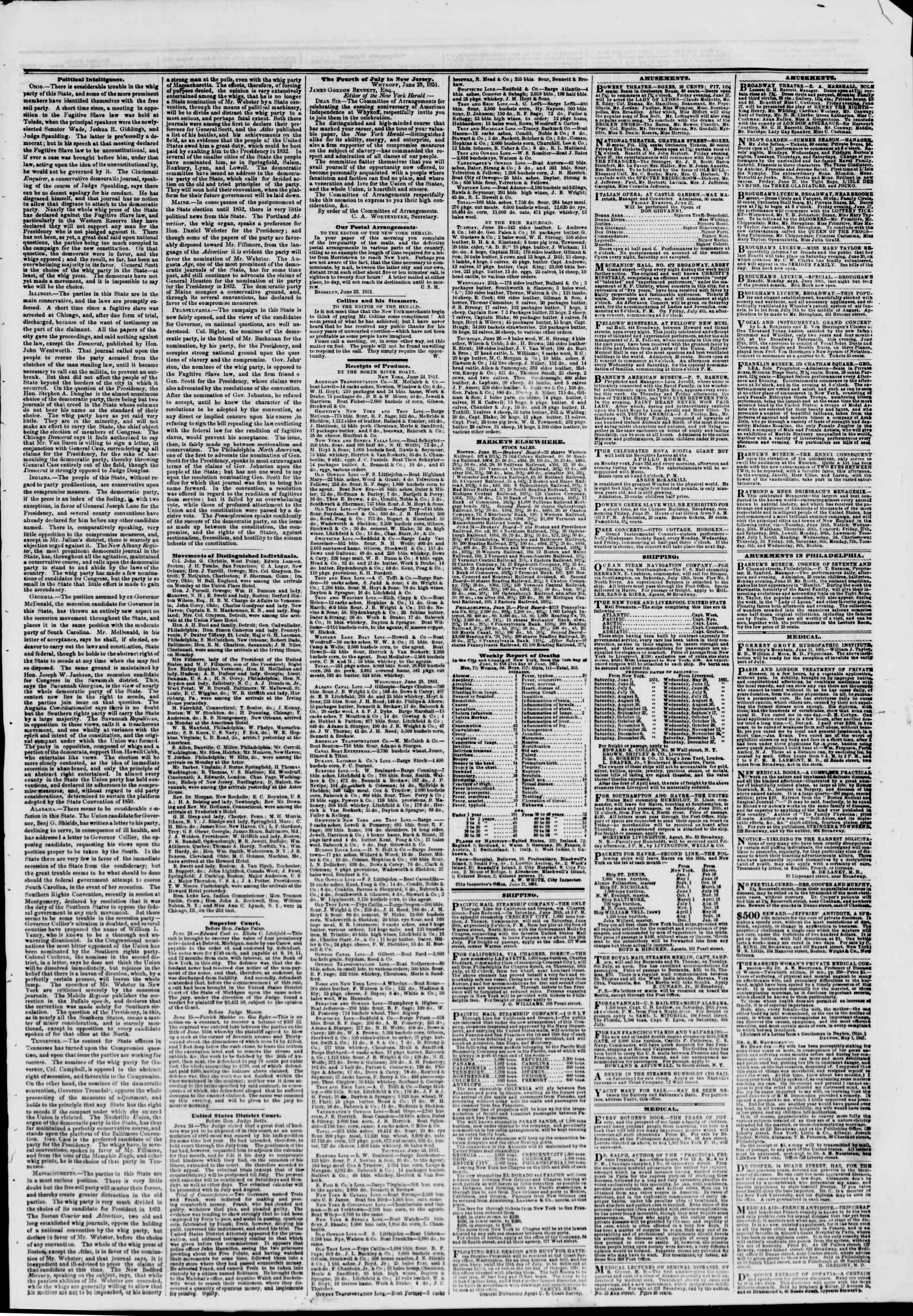 Newspaper of The New York Herald dated June 27, 1851 Page 9