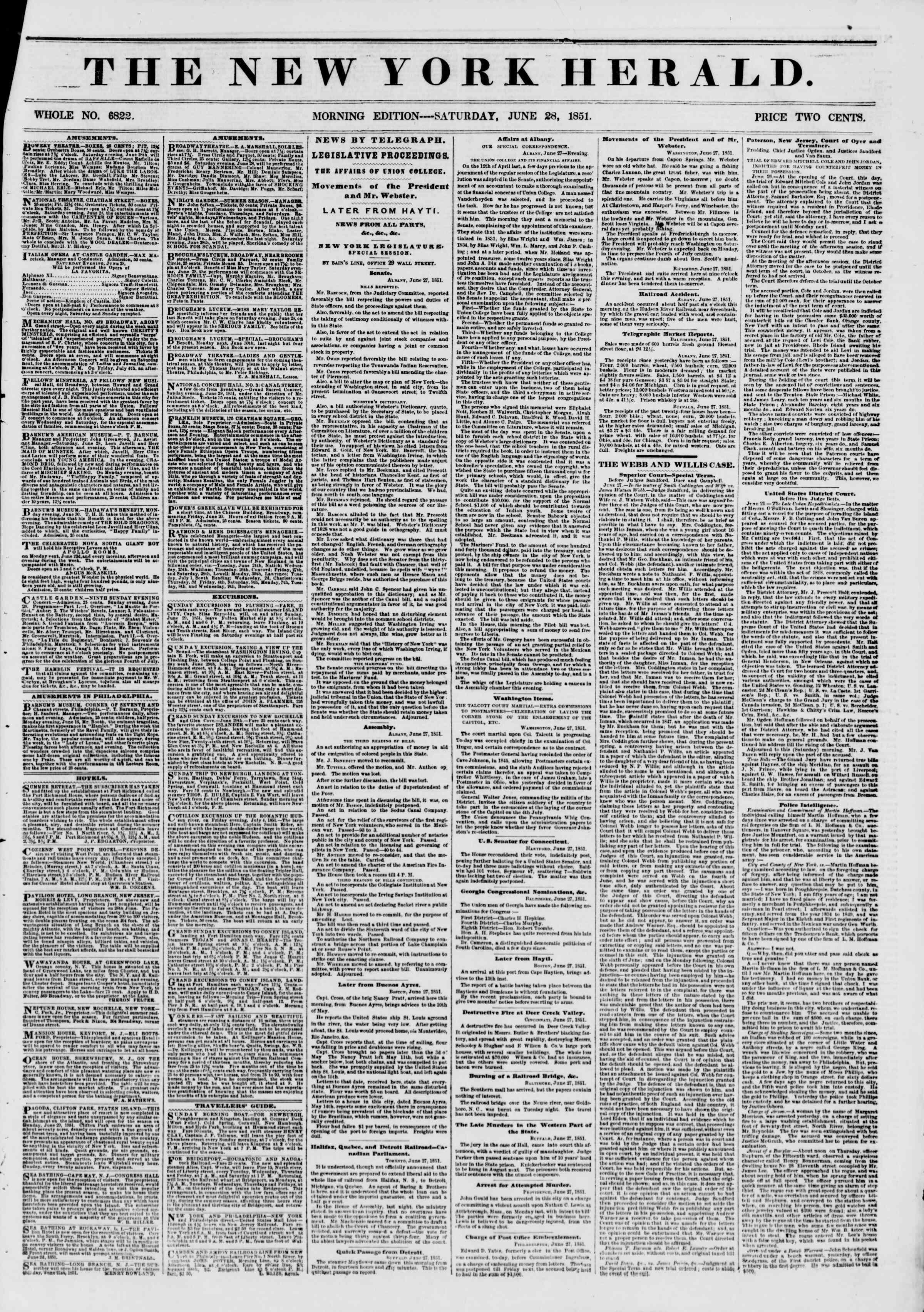 28 Haziran 1851 tarihli The New York Herald Gazetesi Sayfa 1
