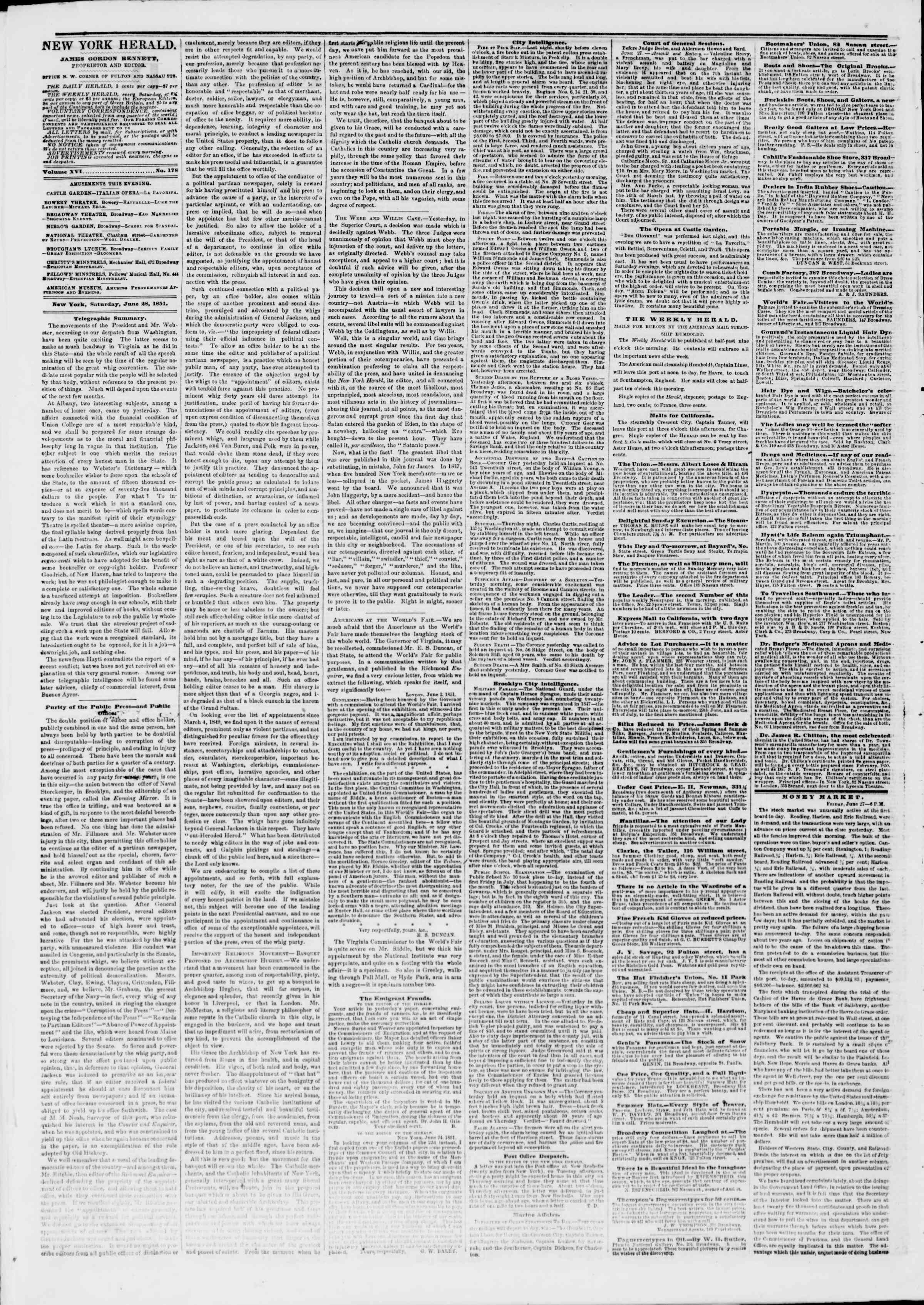 Newspaper of The New York Herald dated June 28, 1851 Page 2