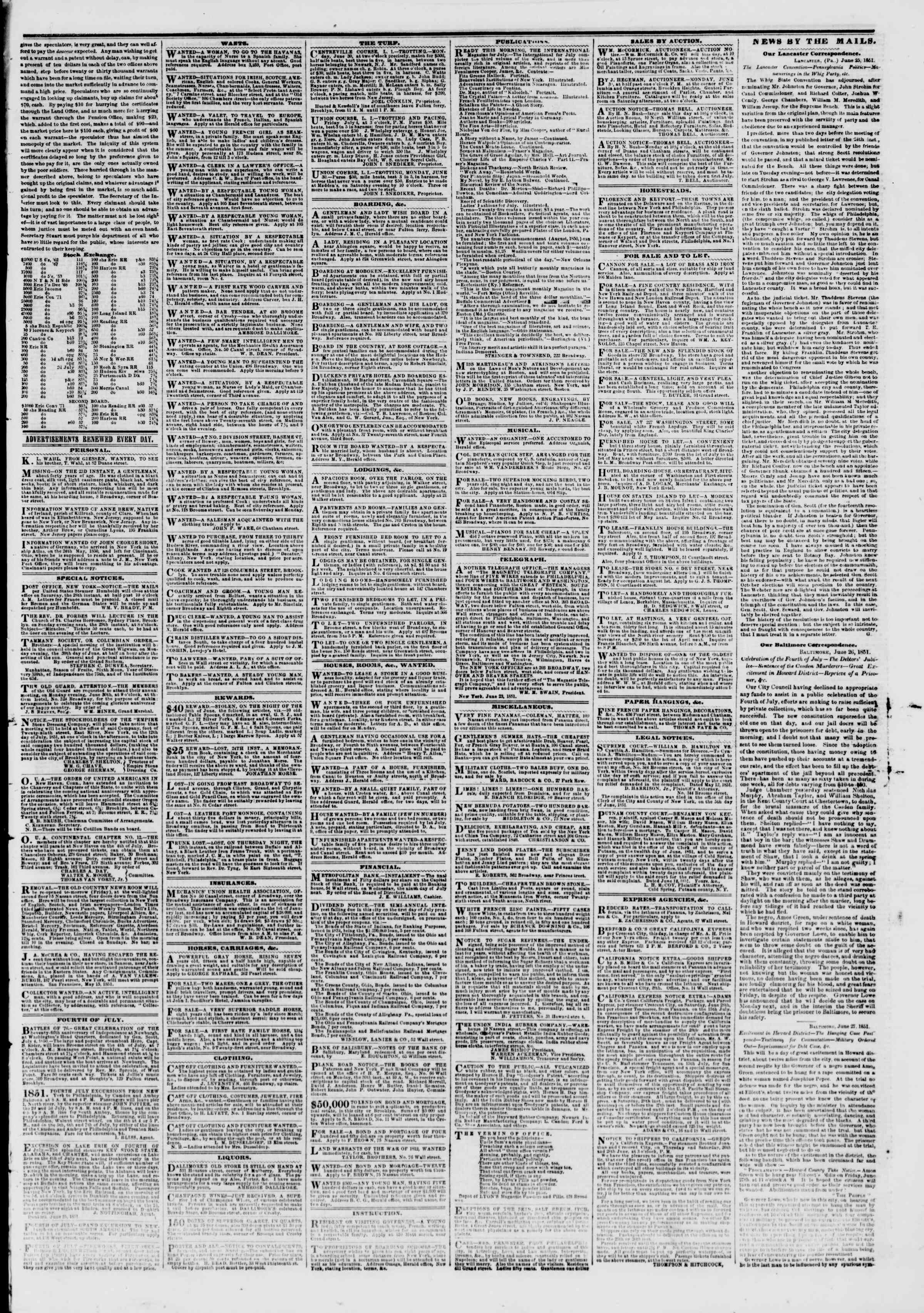 Newspaper of The New York Herald dated June 28, 1851 Page 3