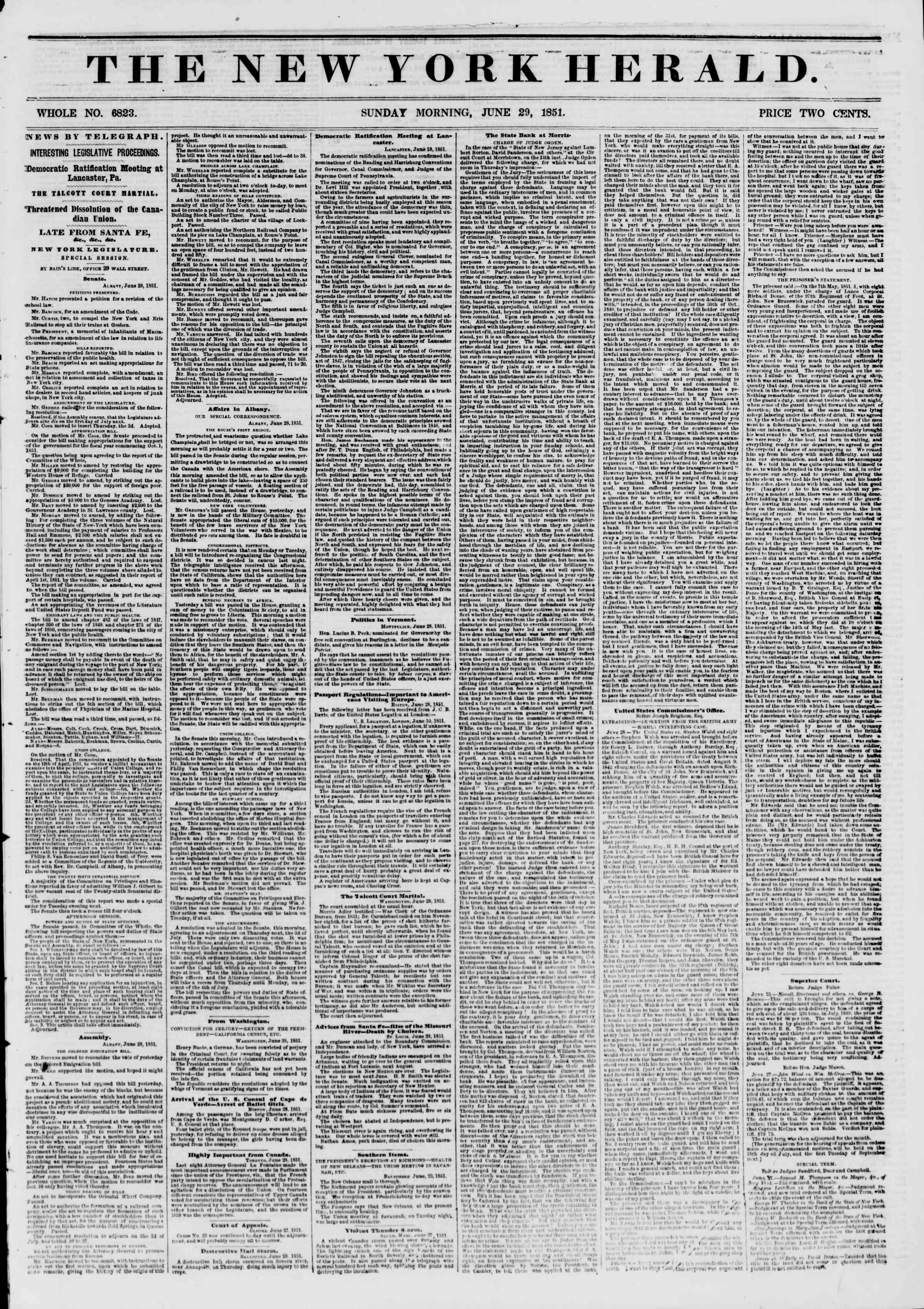 Newspaper of The New York Herald dated June 29, 1851 Page 1