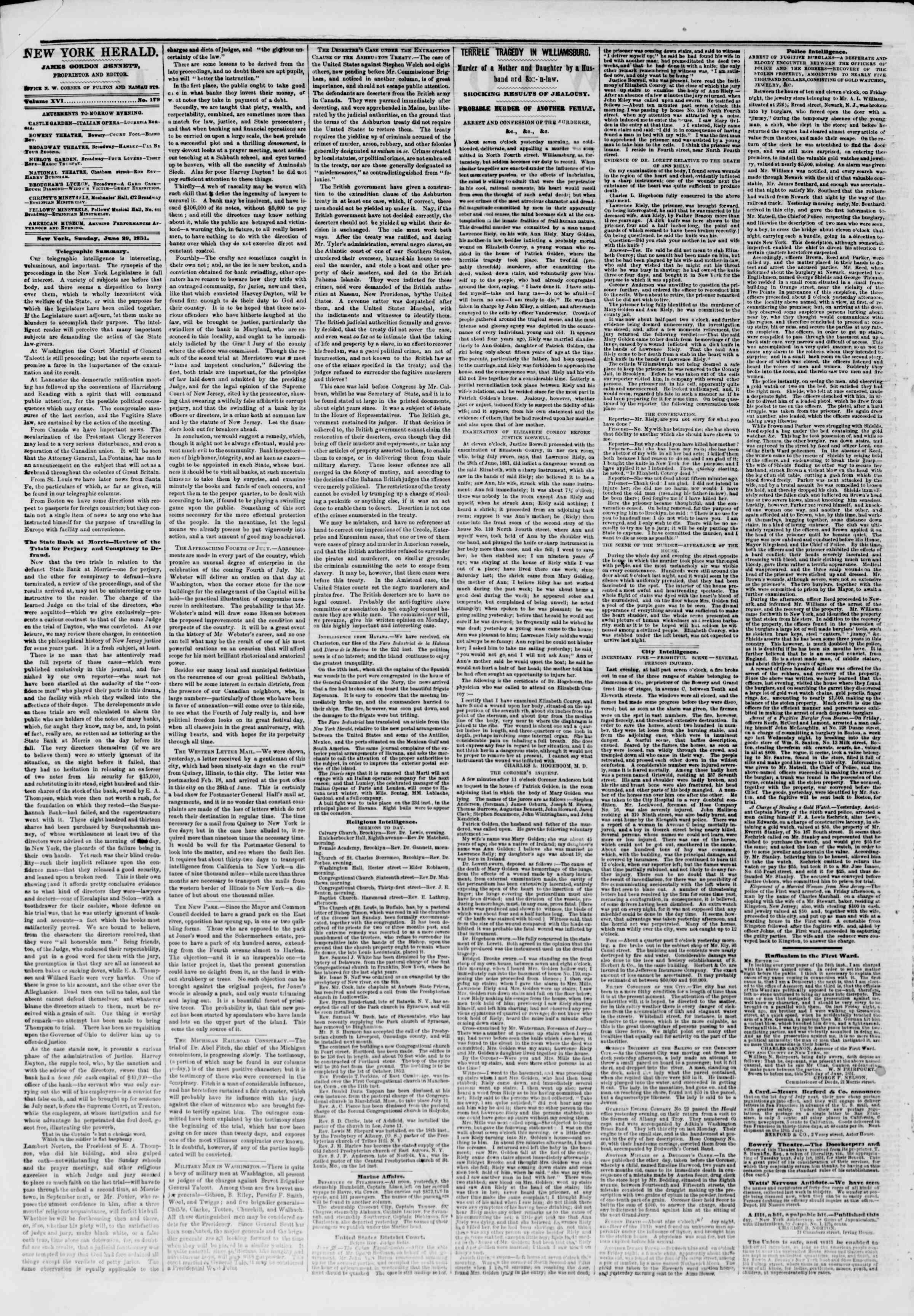 29 Haziran 1851 tarihli The New York Herald Gazetesi Sayfa 2
