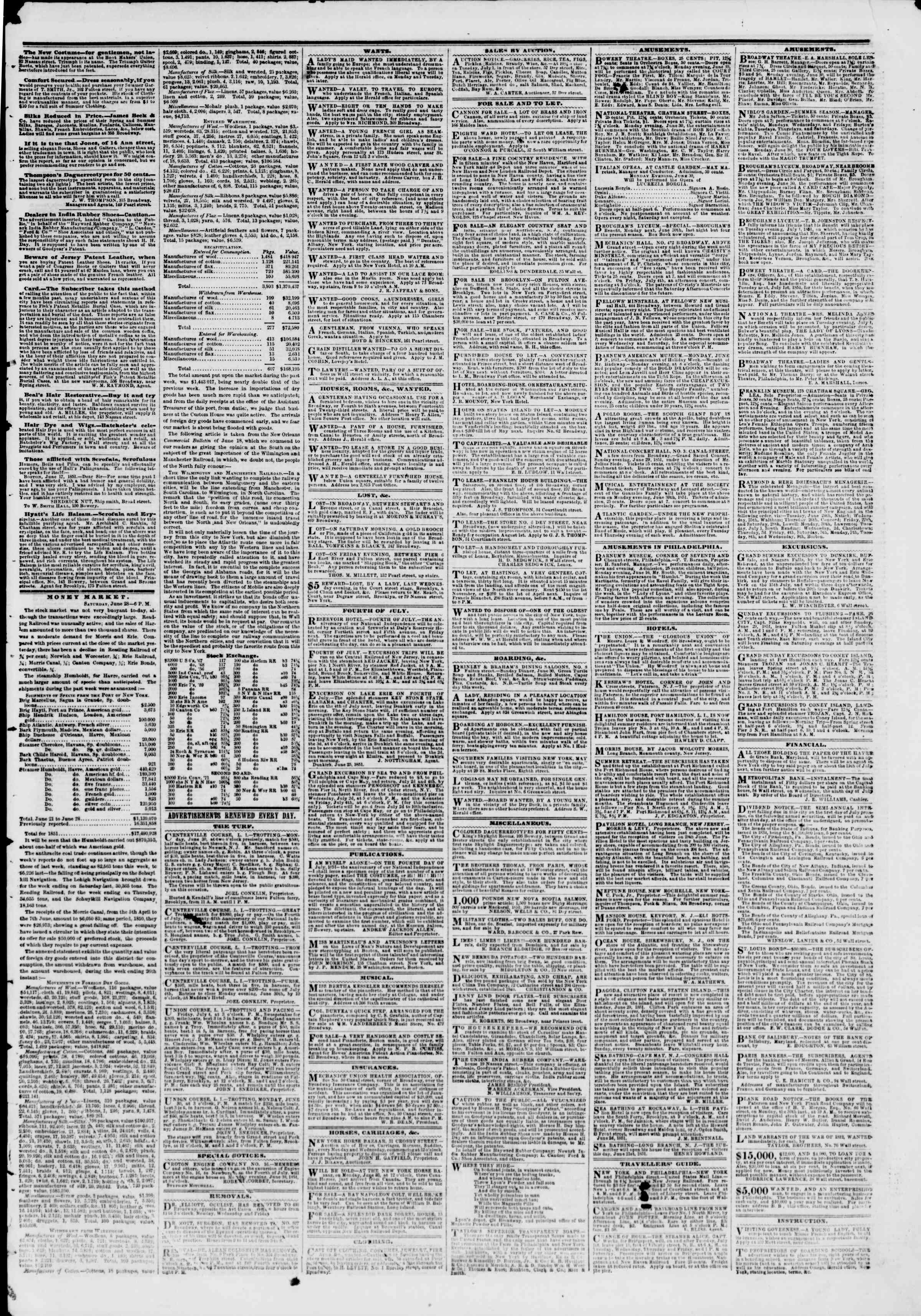 Newspaper of The New York Herald dated June 29, 1851 Page 3