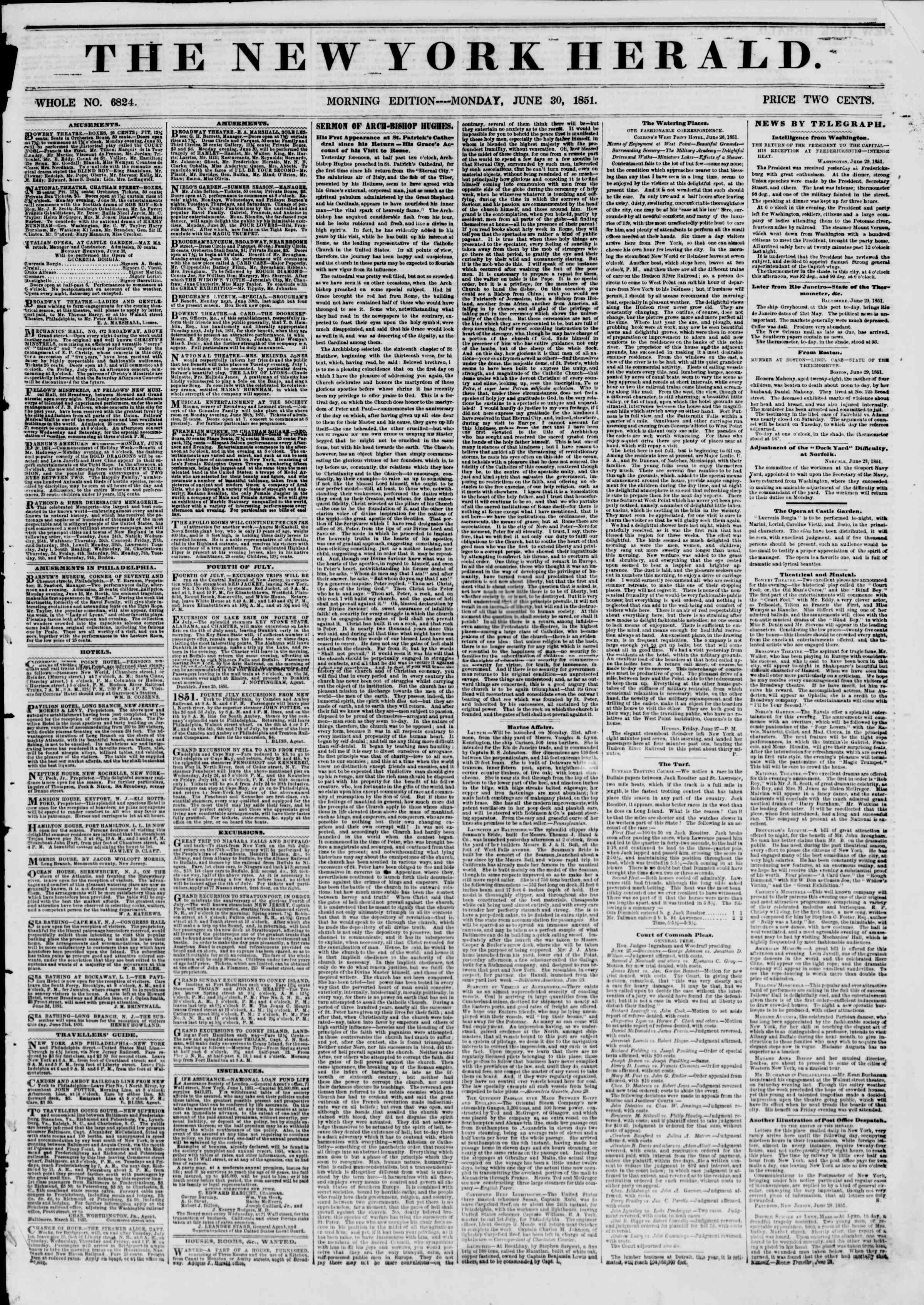 30 Haziran 1851 tarihli The New York Herald Gazetesi Sayfa 1