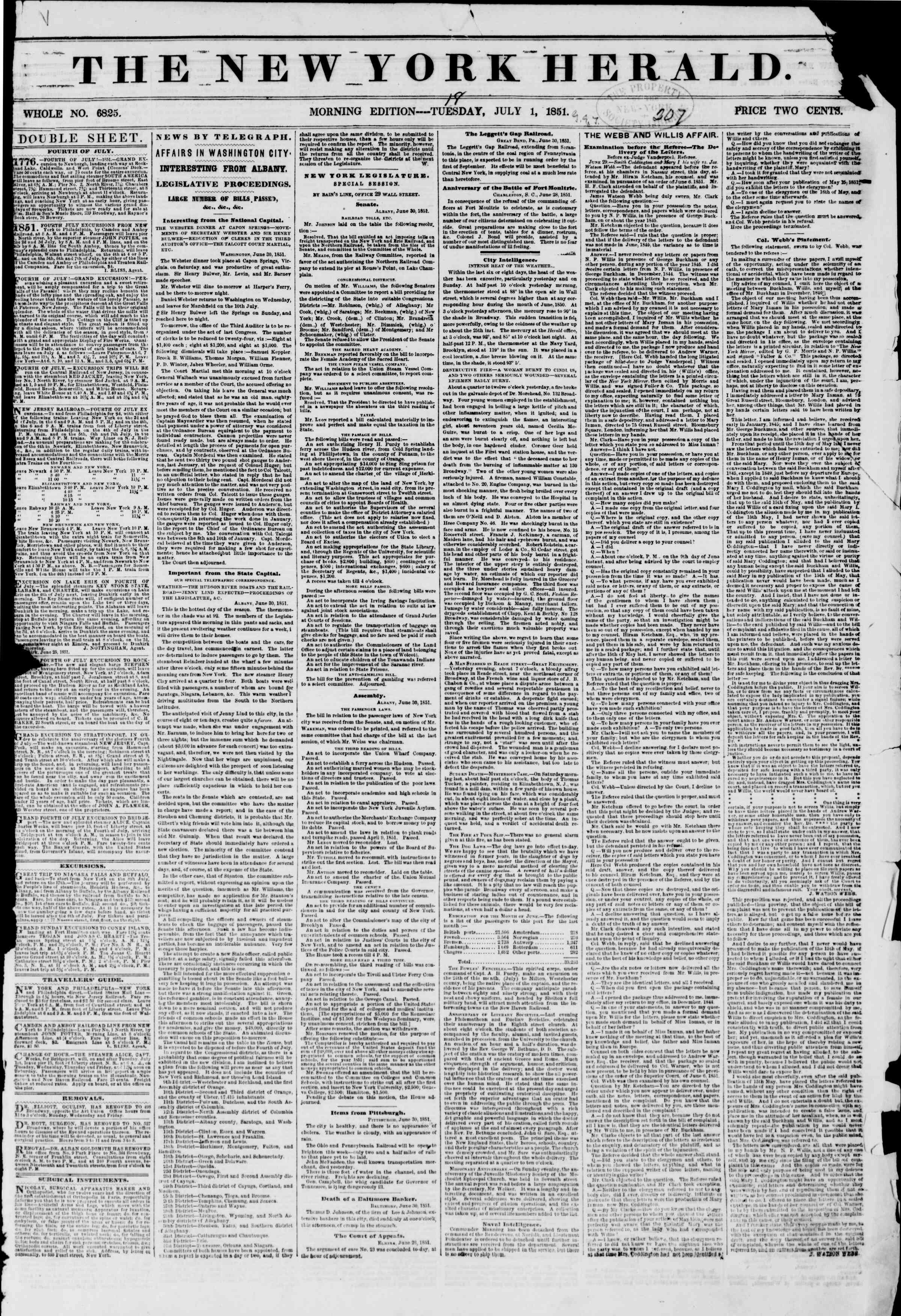 Newspaper of The New York Herald dated July 1, 1851 Page 1