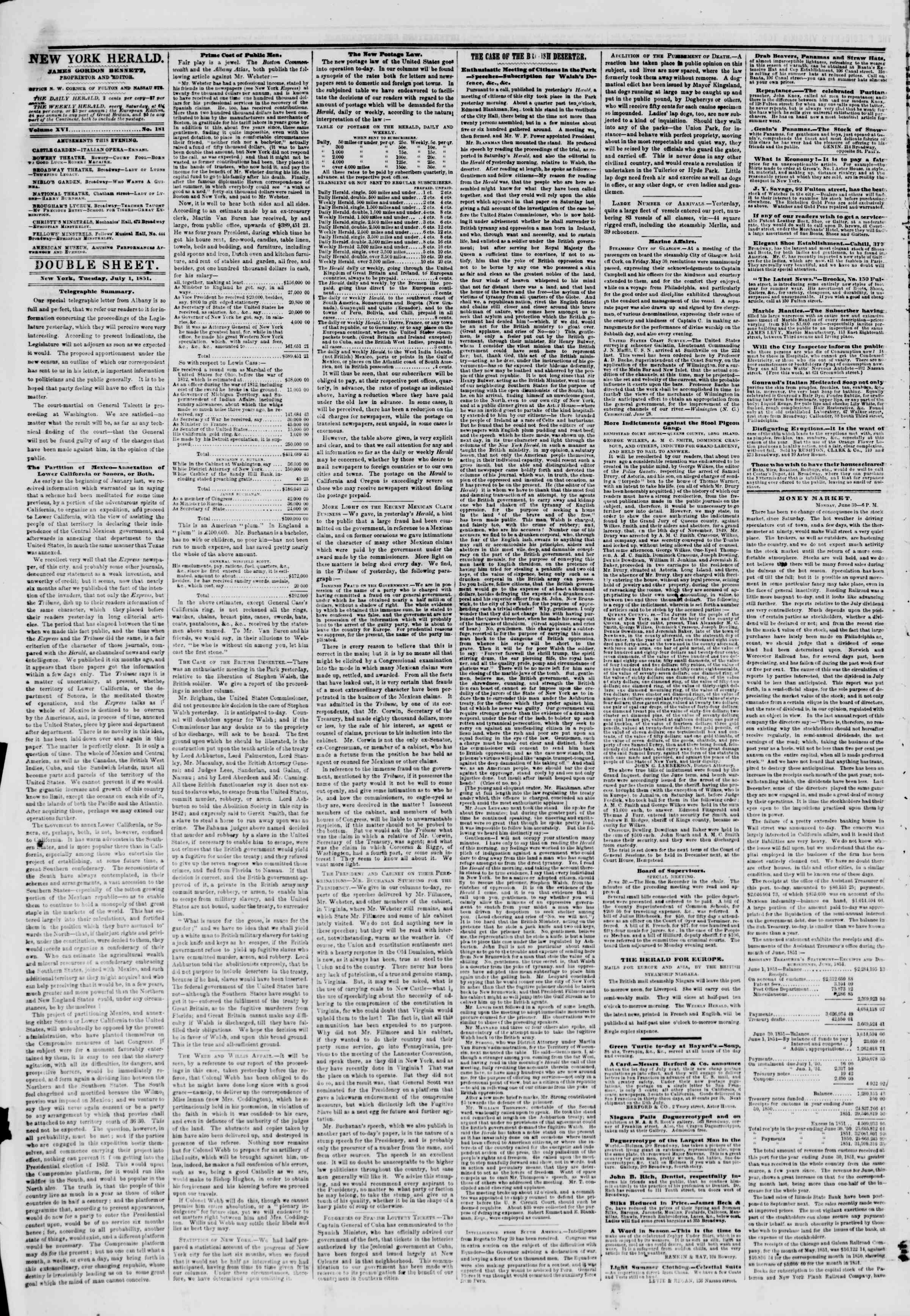Newspaper of The New York Herald dated July 1, 1851 Page 4