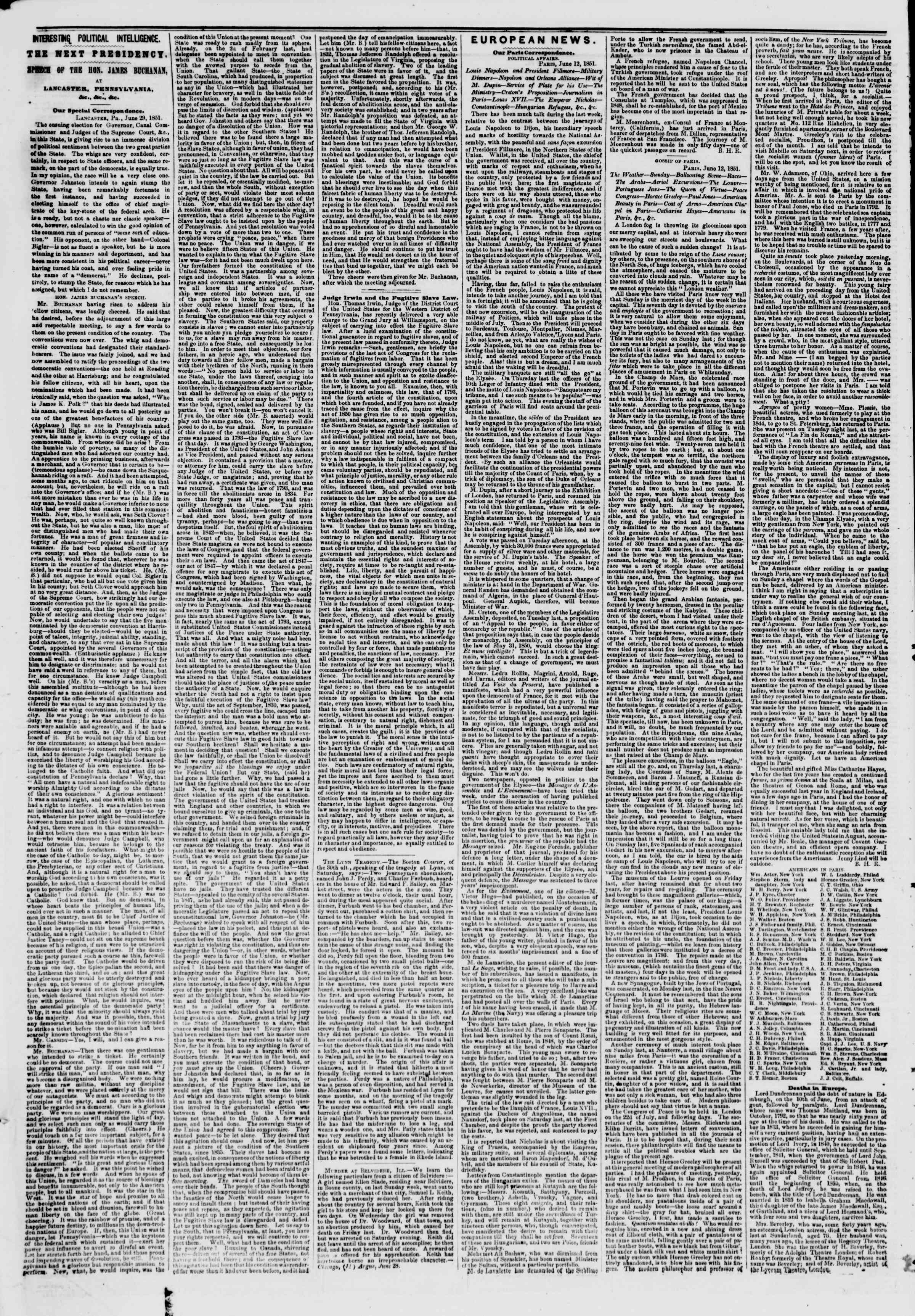 Newspaper of The New York Herald dated July 1, 1851 Page 6