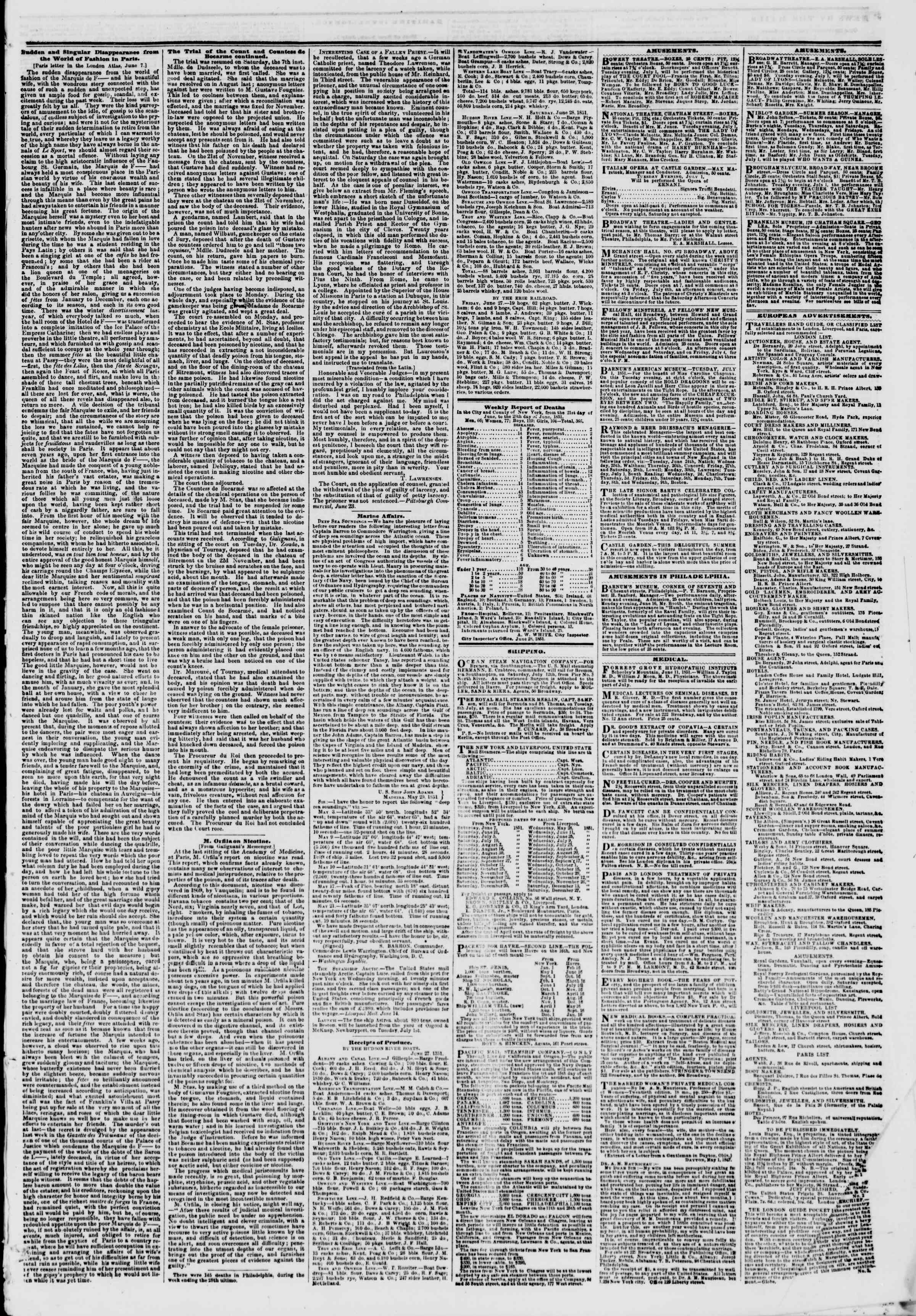 Newspaper of The New York Herald dated July 1, 1851 Page 7
