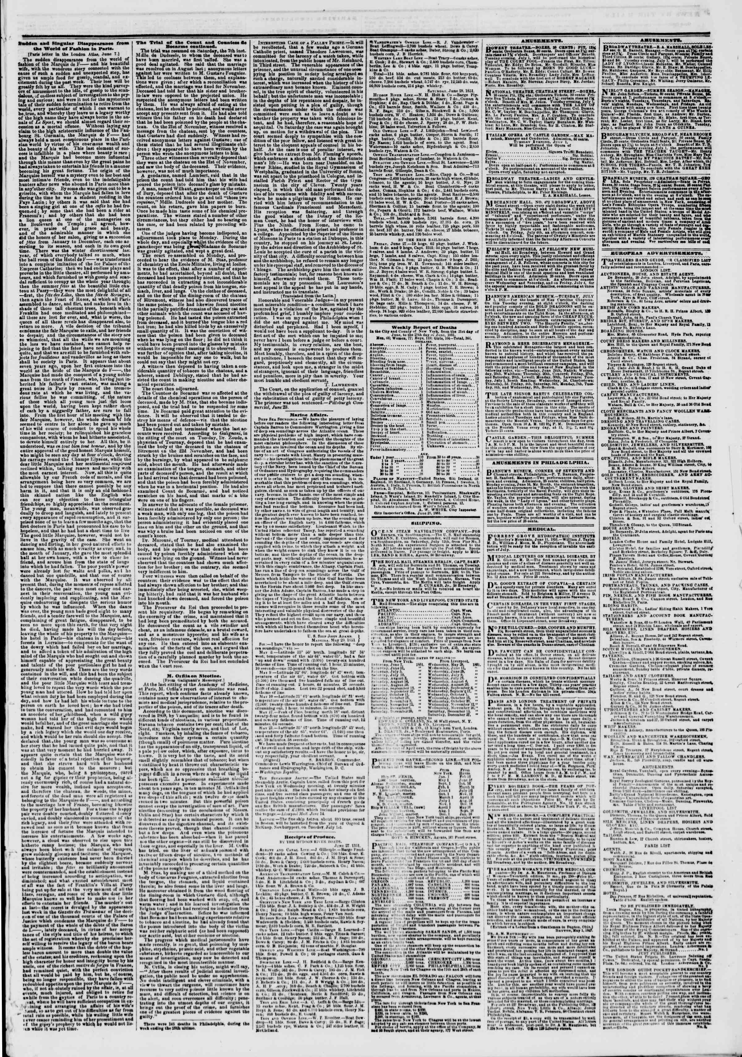Newspaper of The New York Herald dated July 1, 1851 Page 9