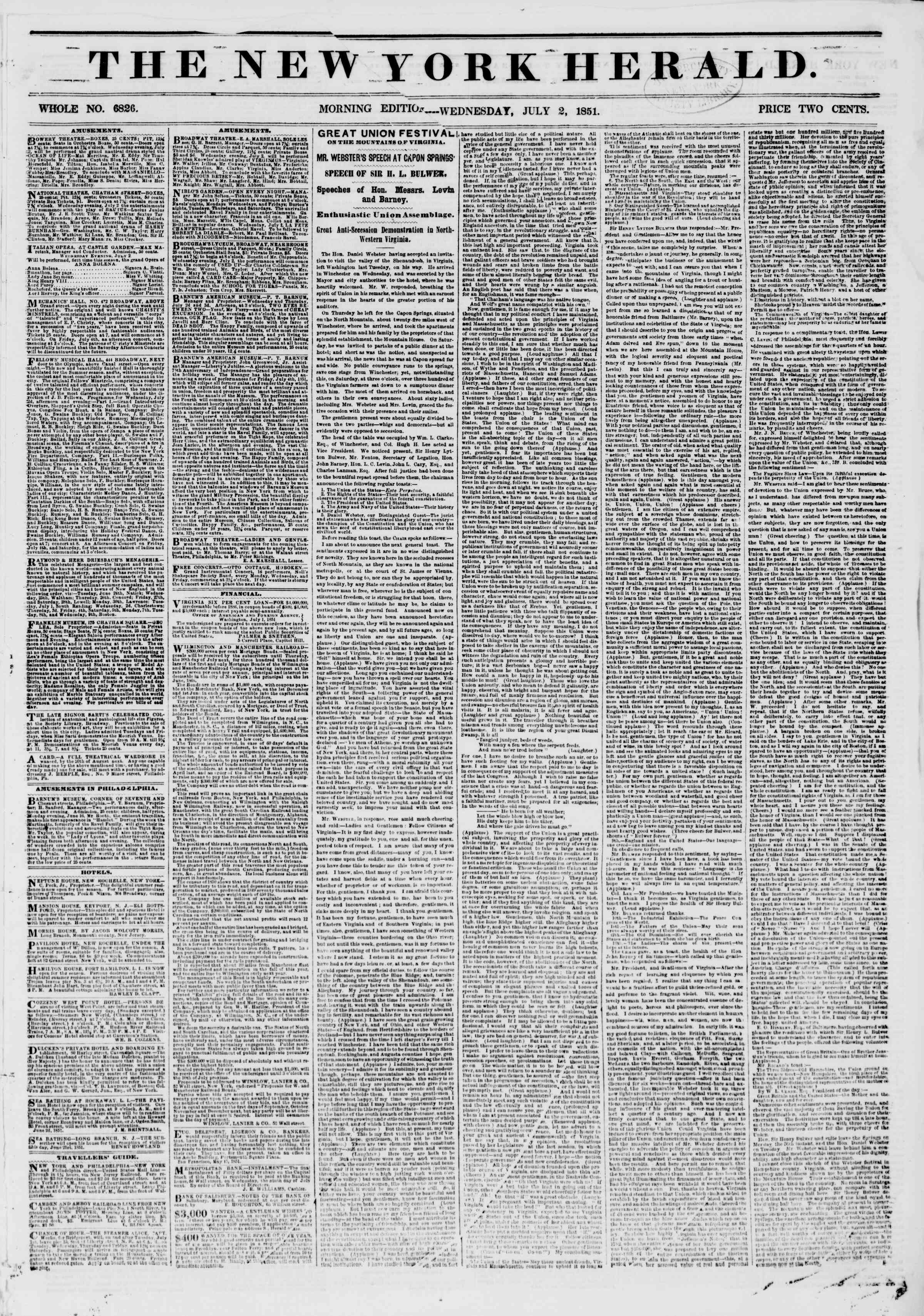 Newspaper of The New York Herald dated July 2, 1851 Page 1