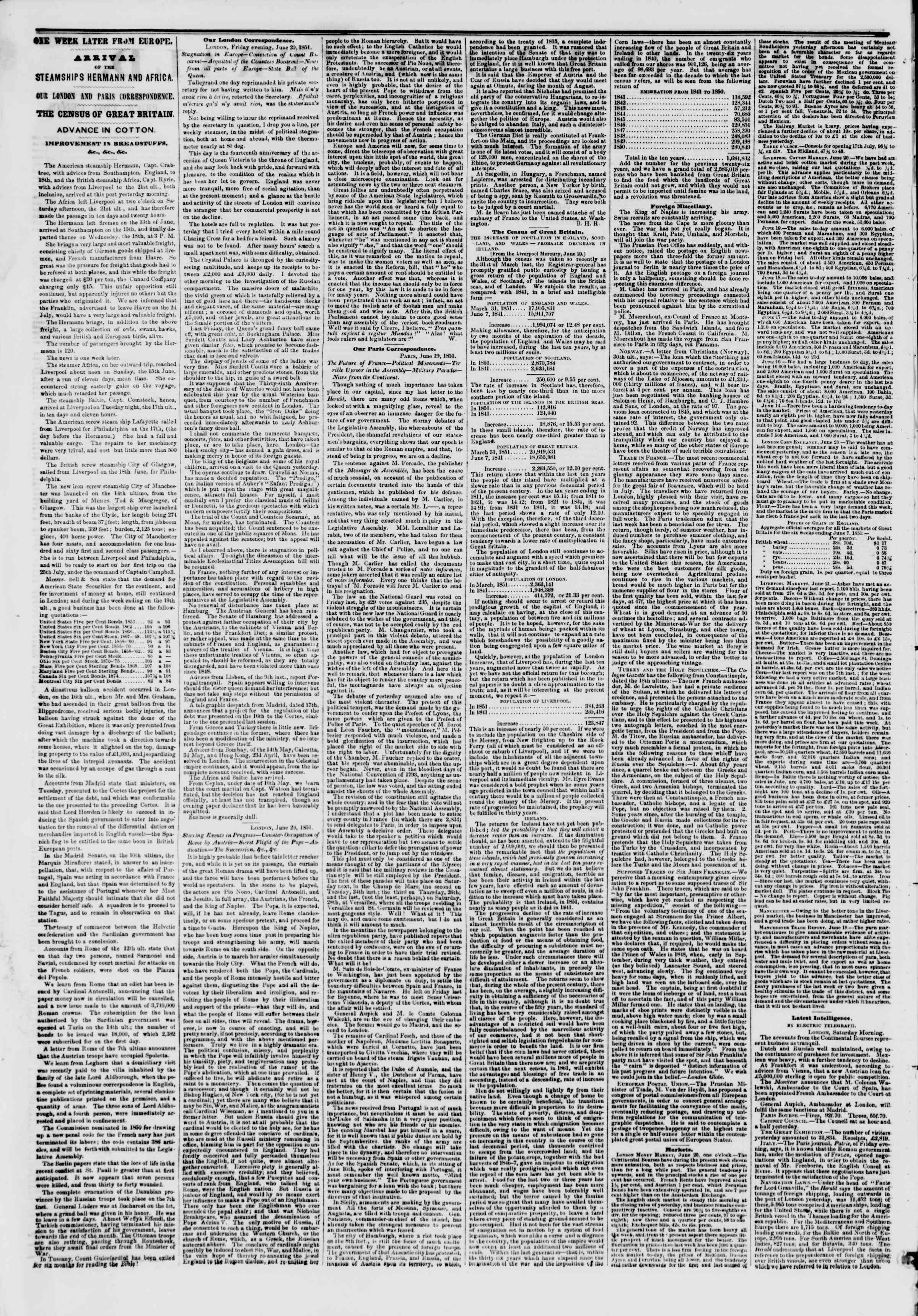 Newspaper of The New York Herald dated July 3, 1851 Page 2
