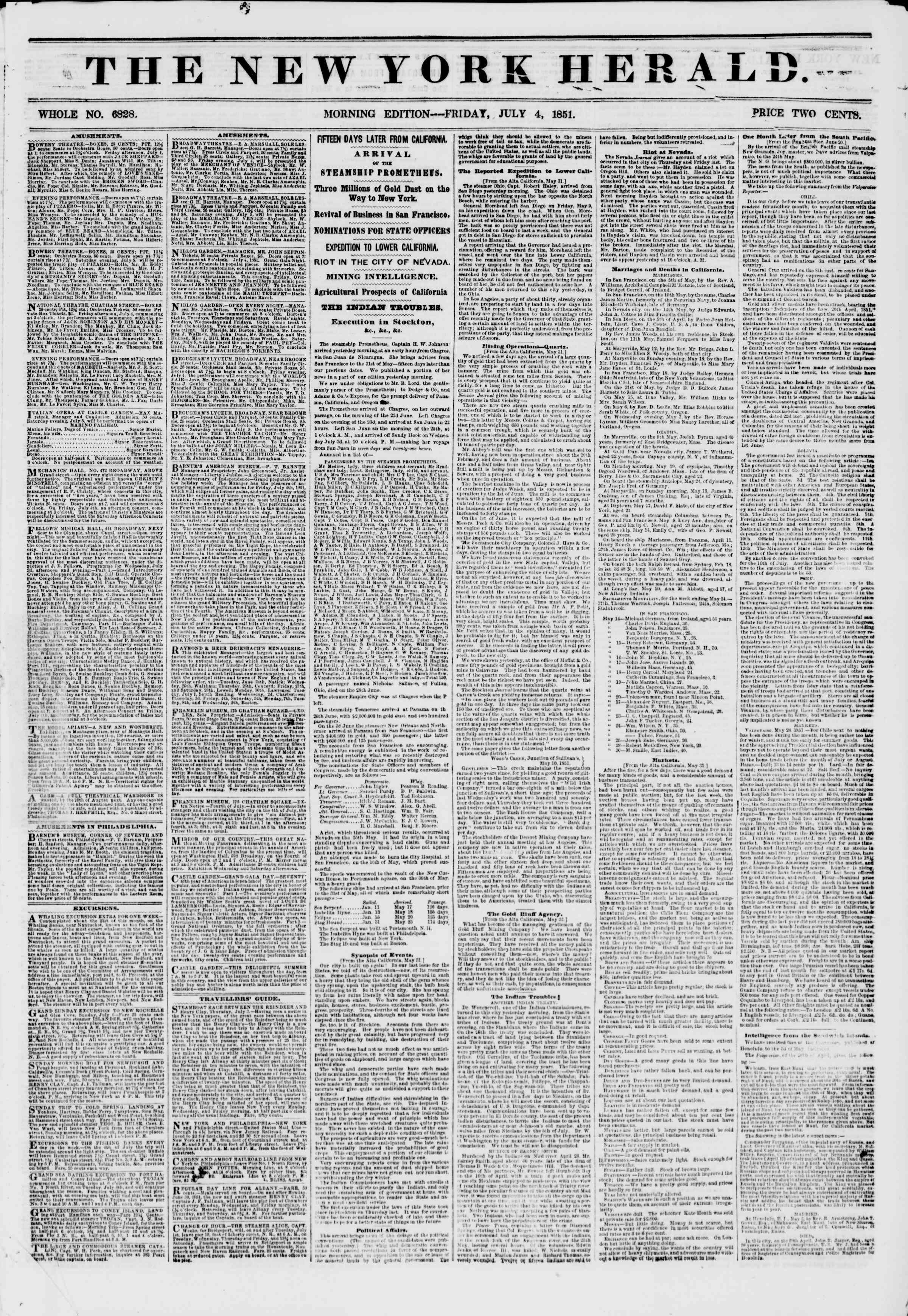 Newspaper of The New York Herald dated July 4, 1851 Page 1