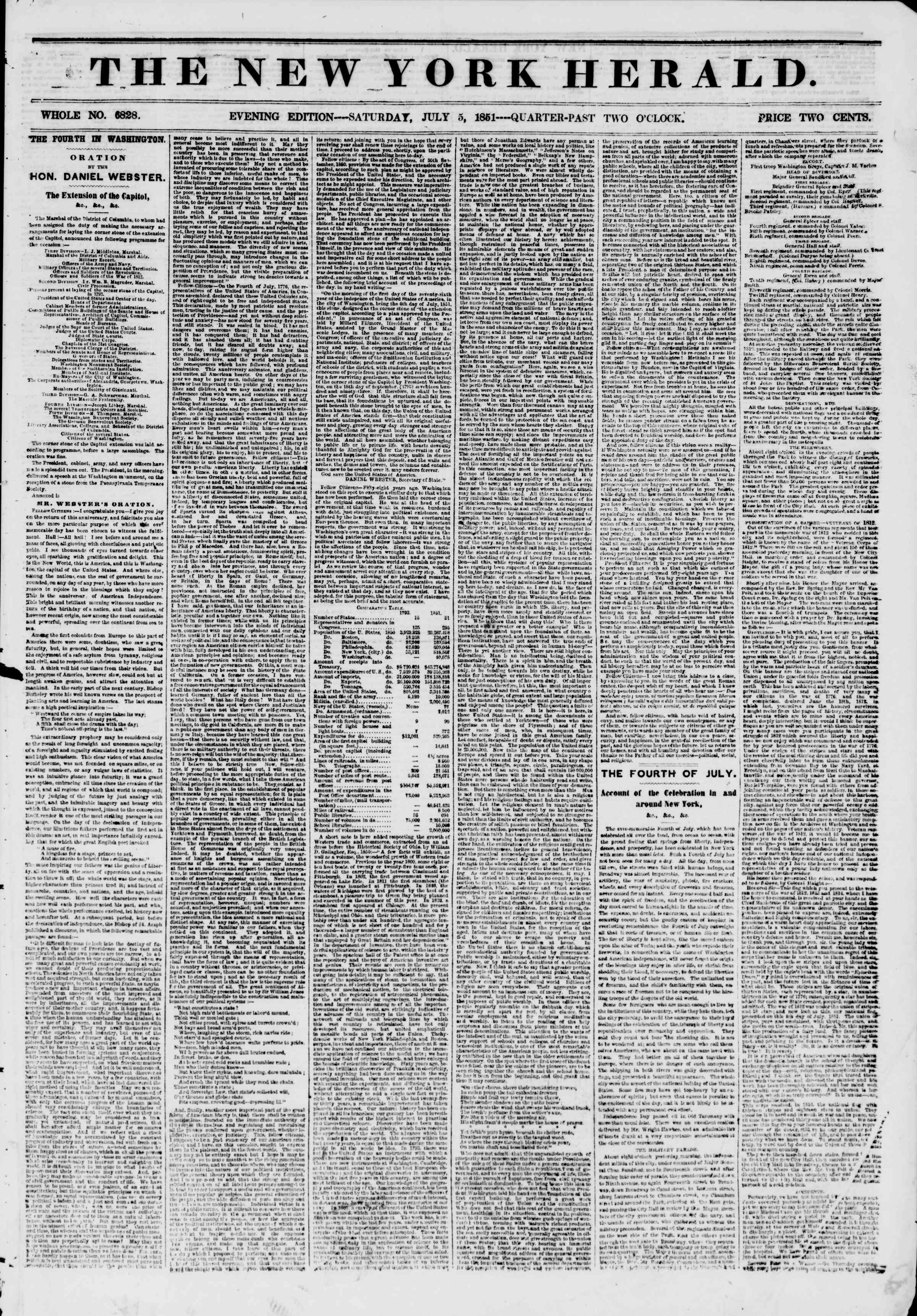 Newspaper of The New York Herald dated July 5, 1851 Page 1