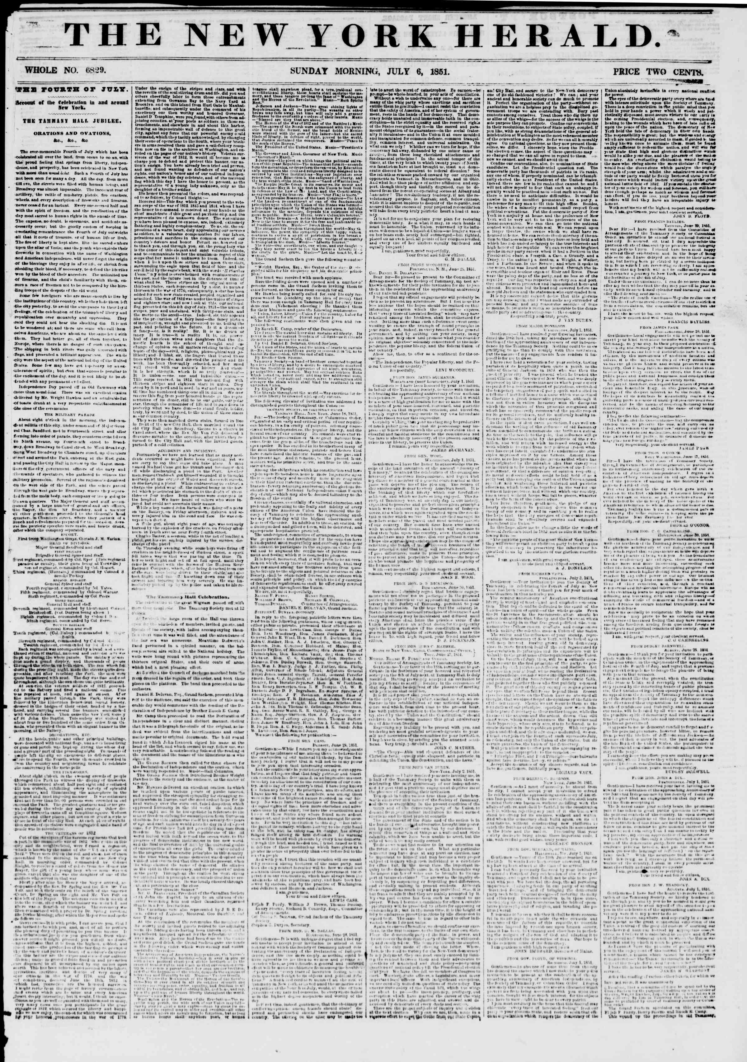 Newspaper of The New York Herald dated July 6, 1851 Page 1