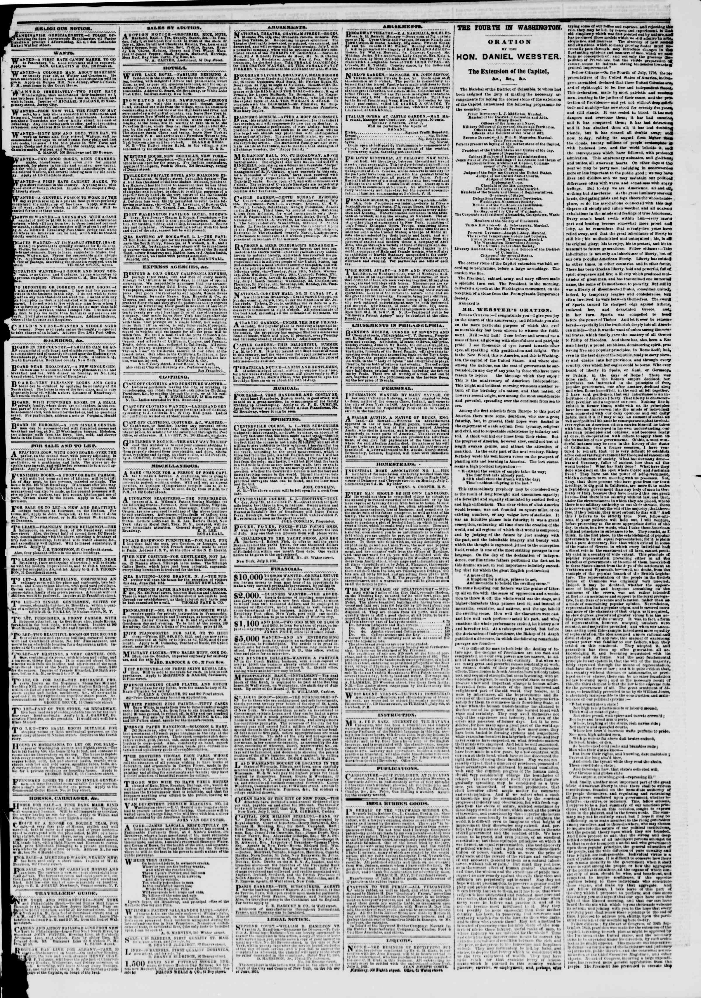 Newspaper of The New York Herald dated July 6, 1851 Page 3