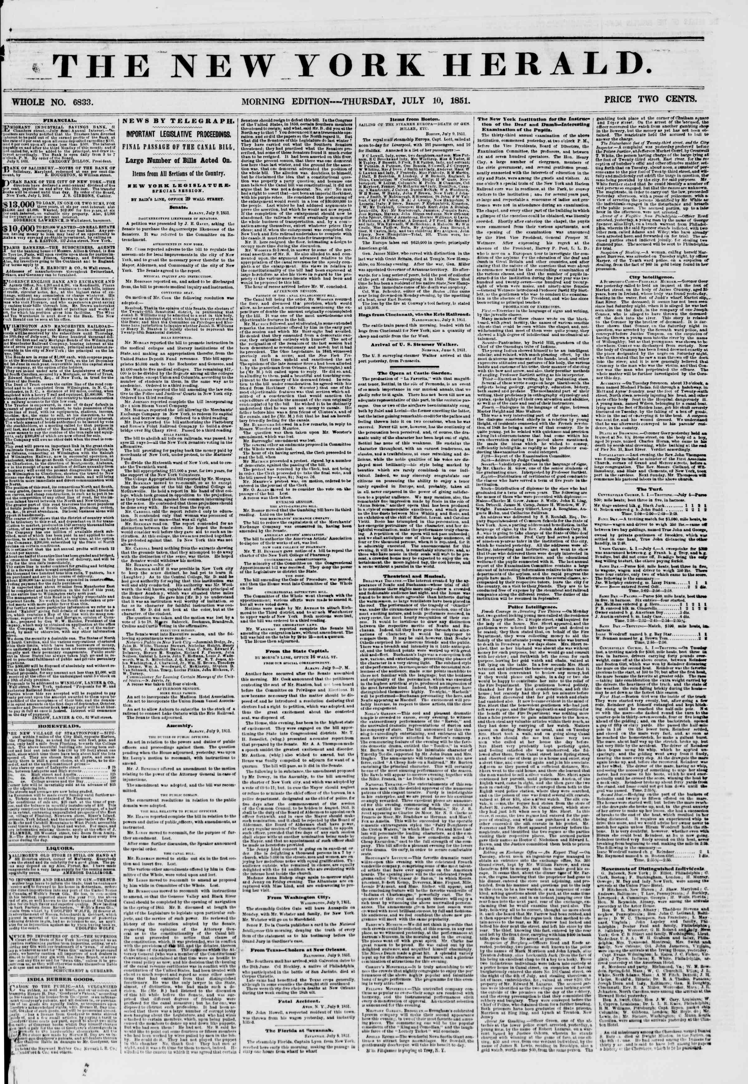 Newspaper of The New York Herald dated July 10, 1851 Page 1