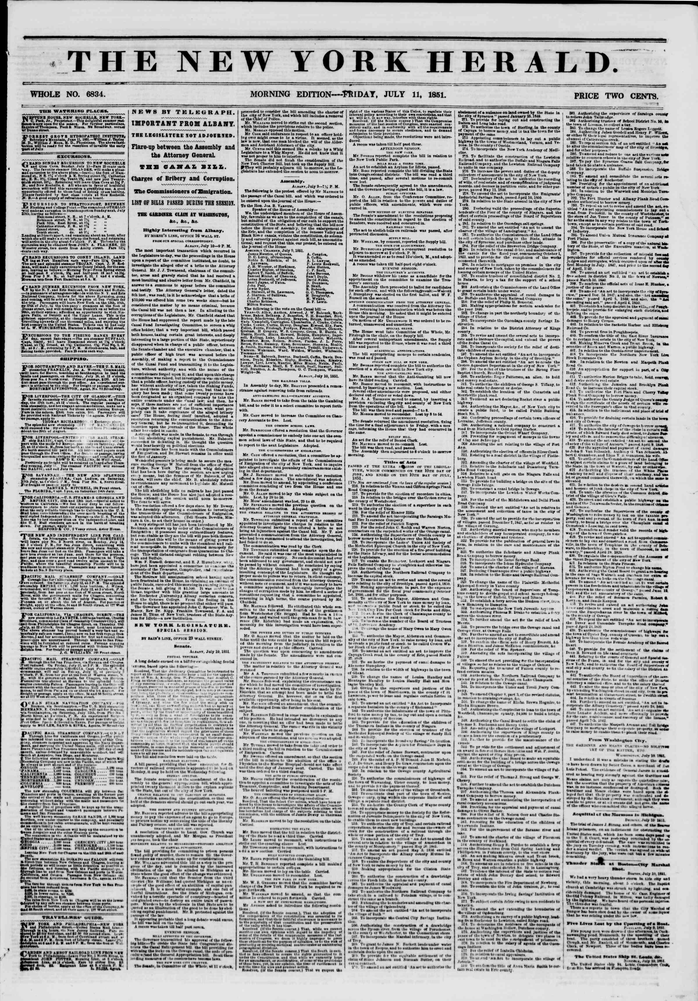 Newspaper of The New York Herald dated July 11, 1851 Page 1