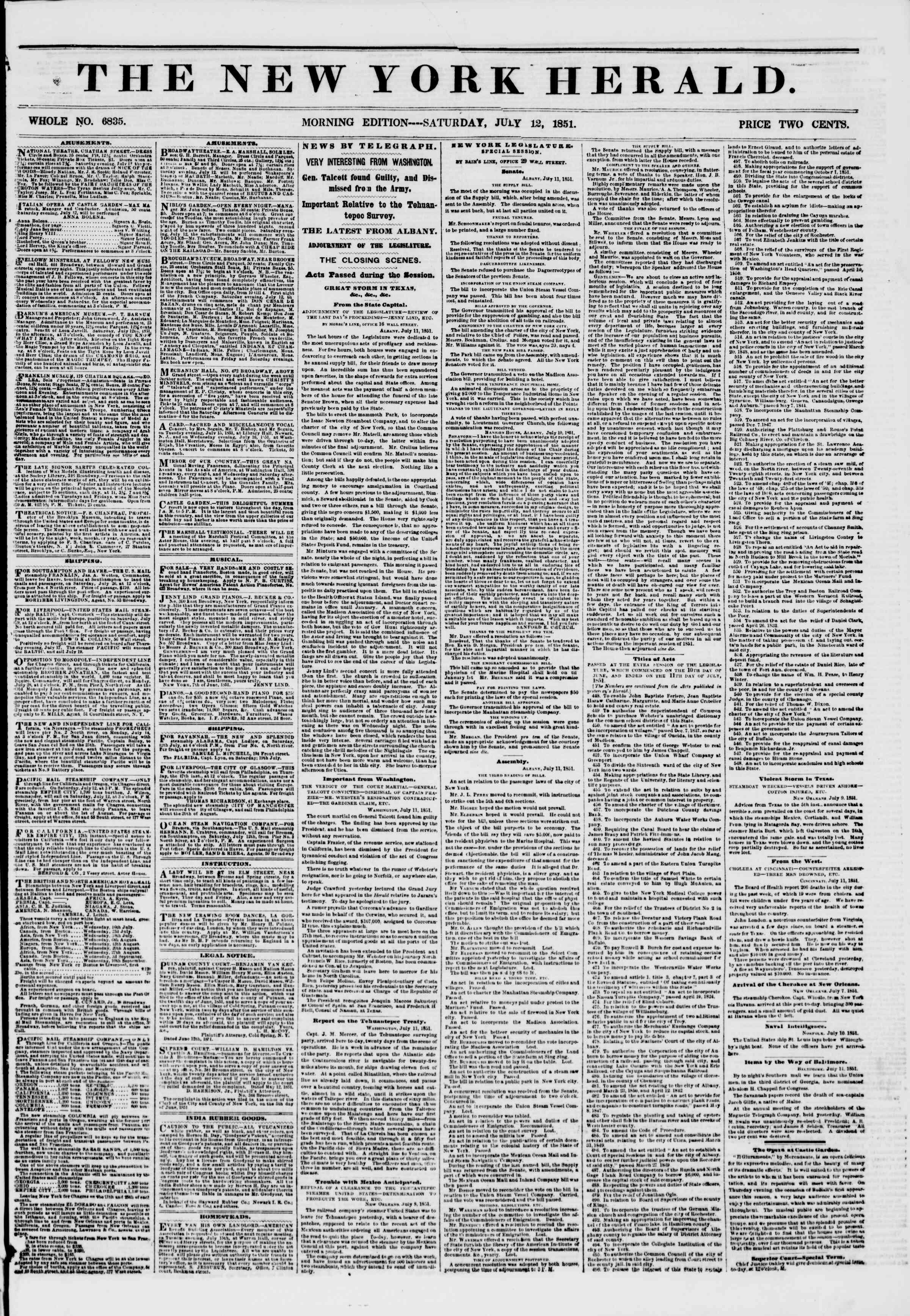 Newspaper of The New York Herald dated July 12, 1851 Page 1