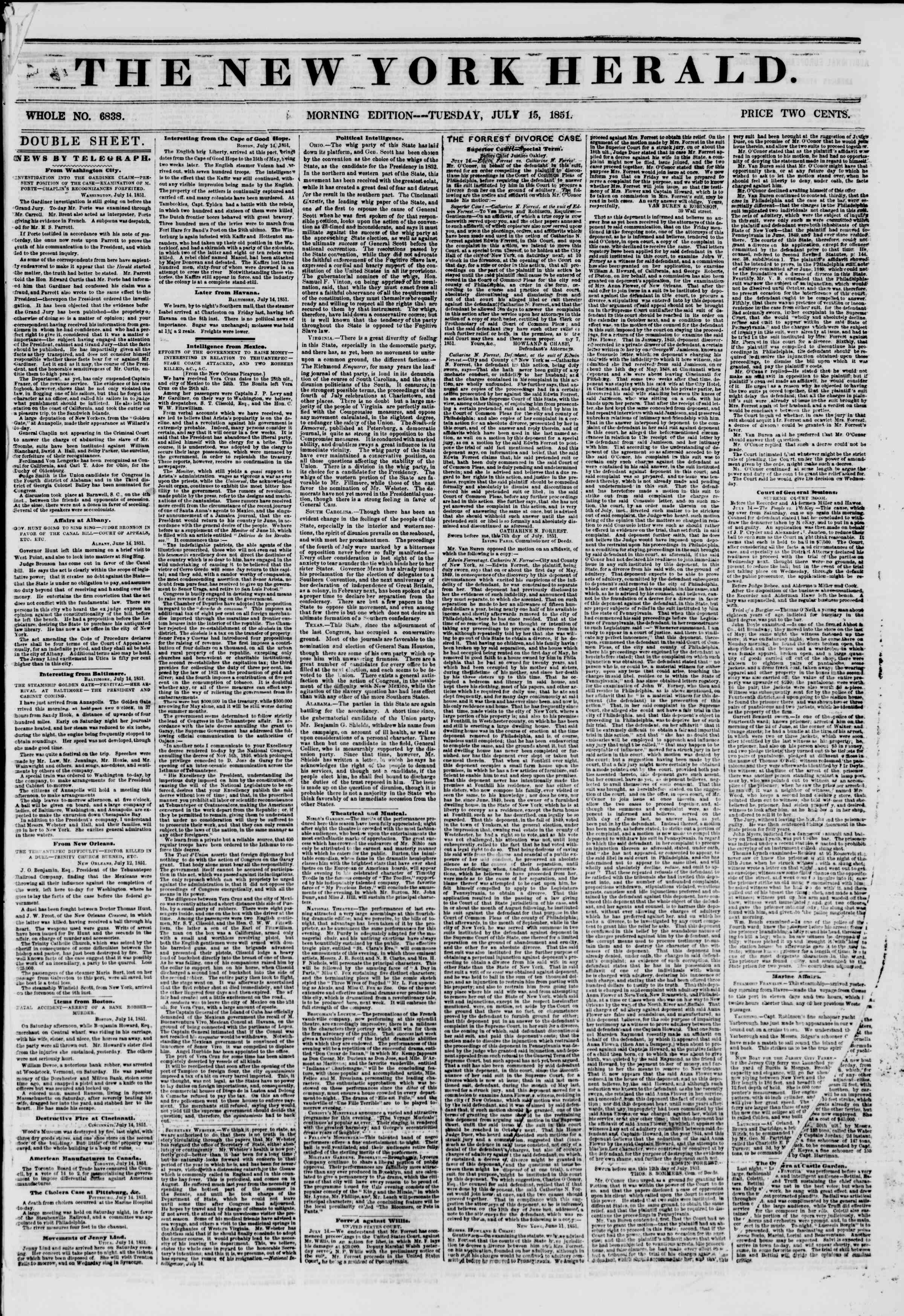 Newspaper of The New York Herald dated July 15, 1851 Page 1