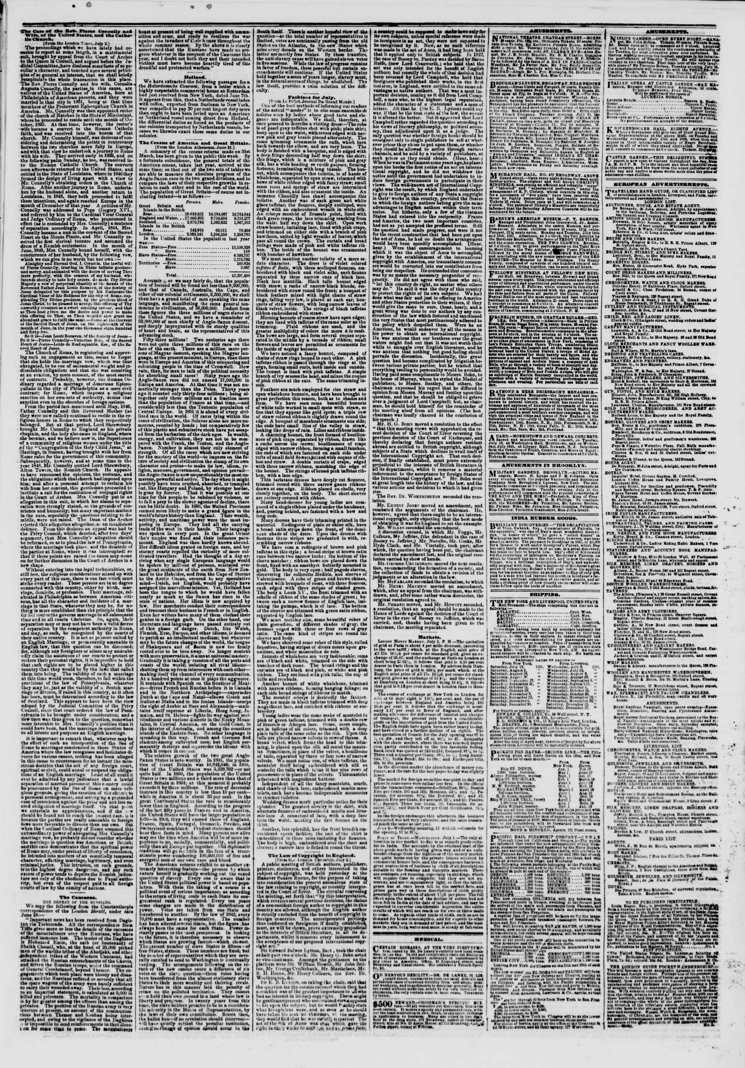 Newspaper of The New York Herald dated July 15, 1851 Page 3