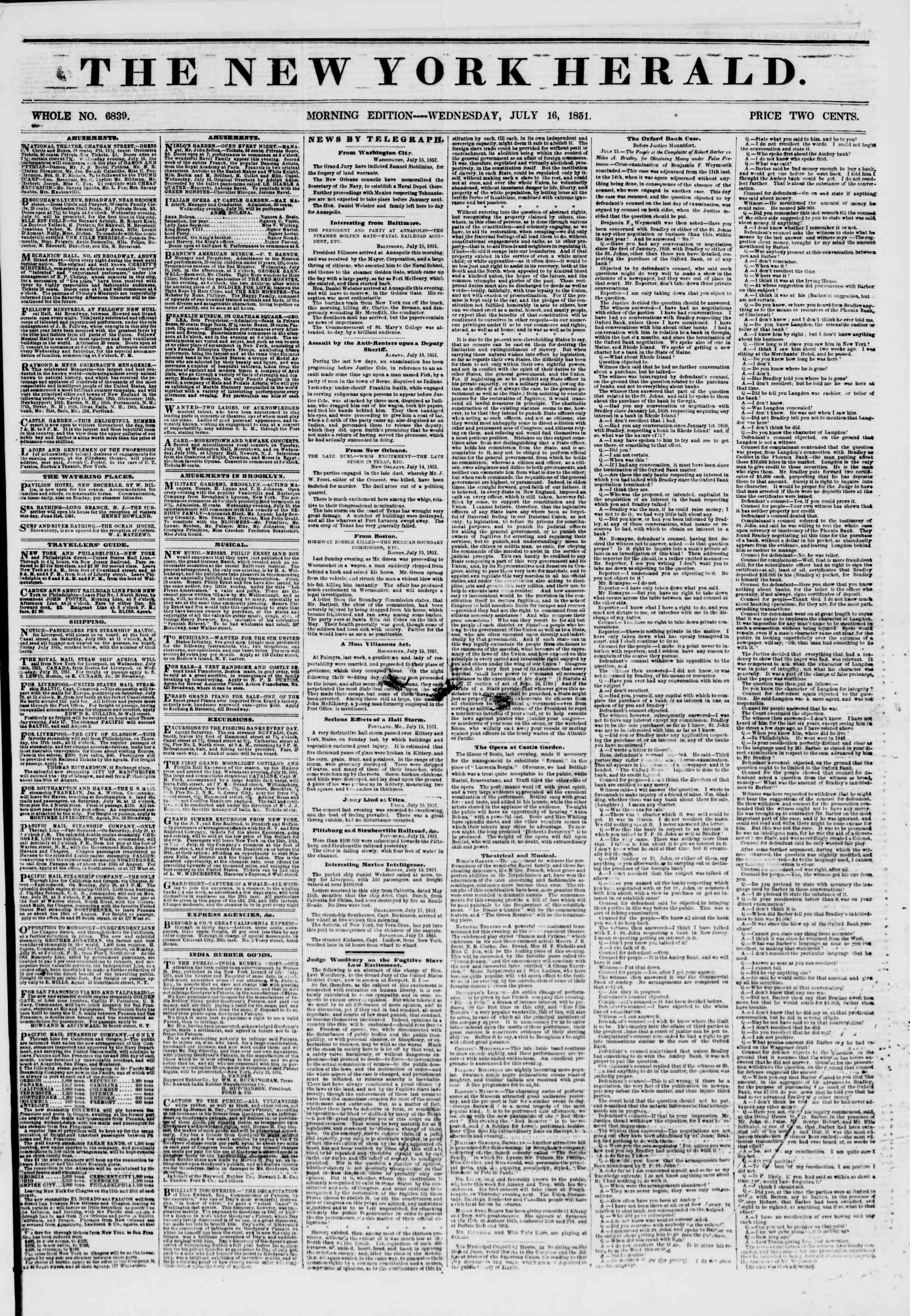 Newspaper of The New York Herald dated July 16, 1851 Page 1