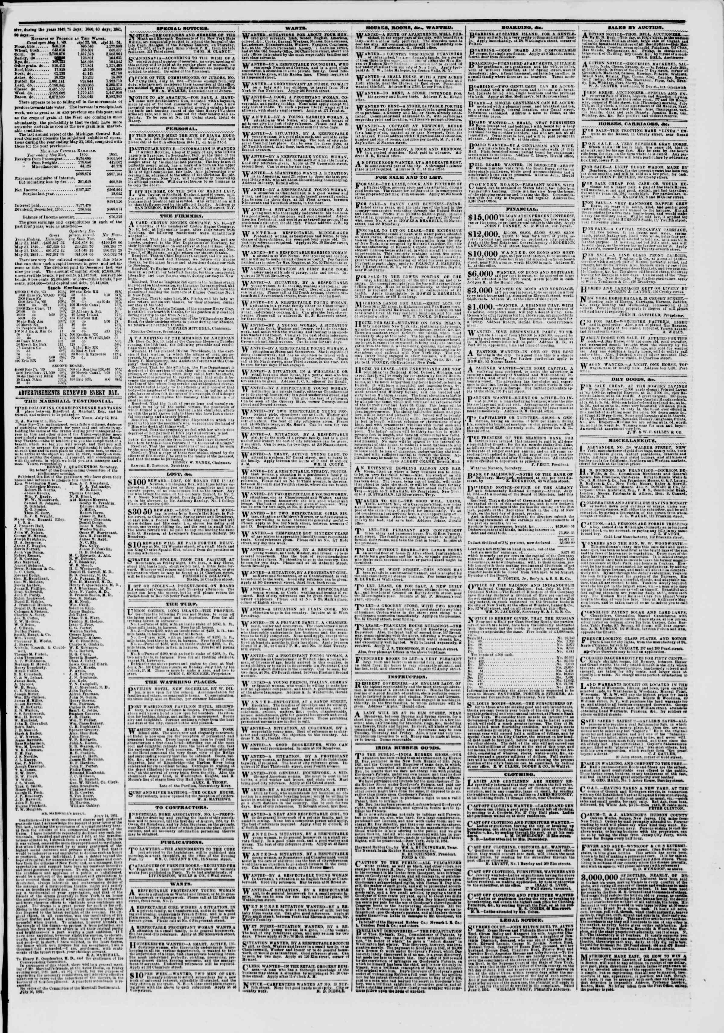 Newspaper of The New York Herald dated July 17, 1851 Page 3