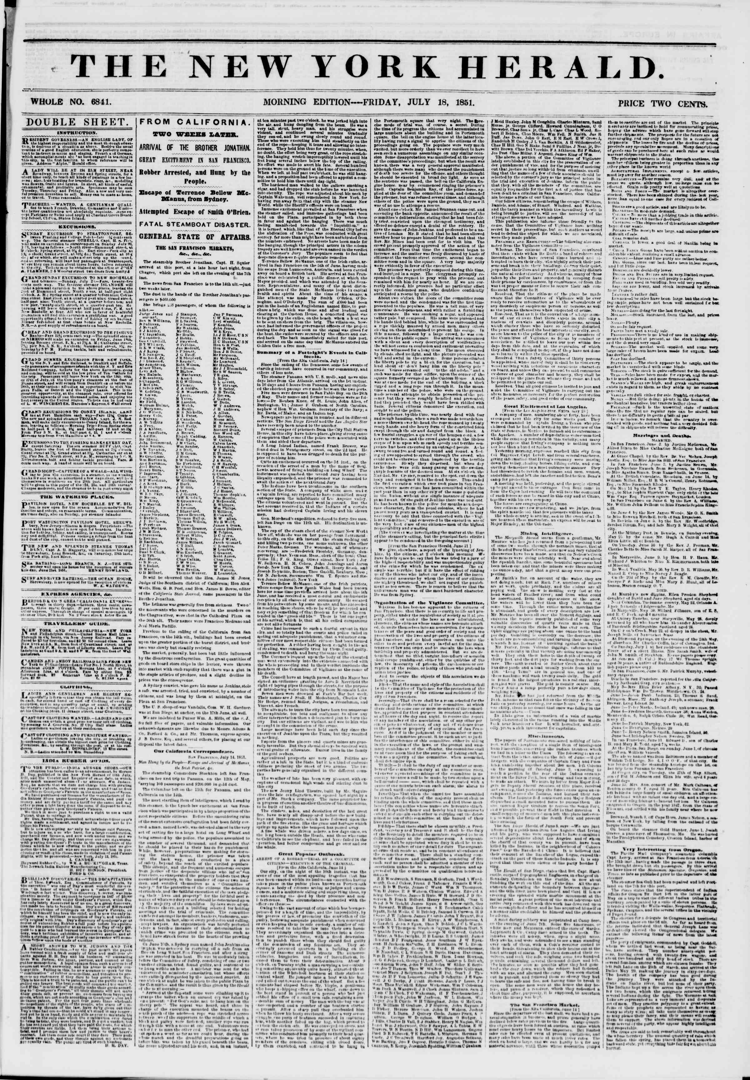 Newspaper of The New York Herald dated July 18, 1851 Page 1