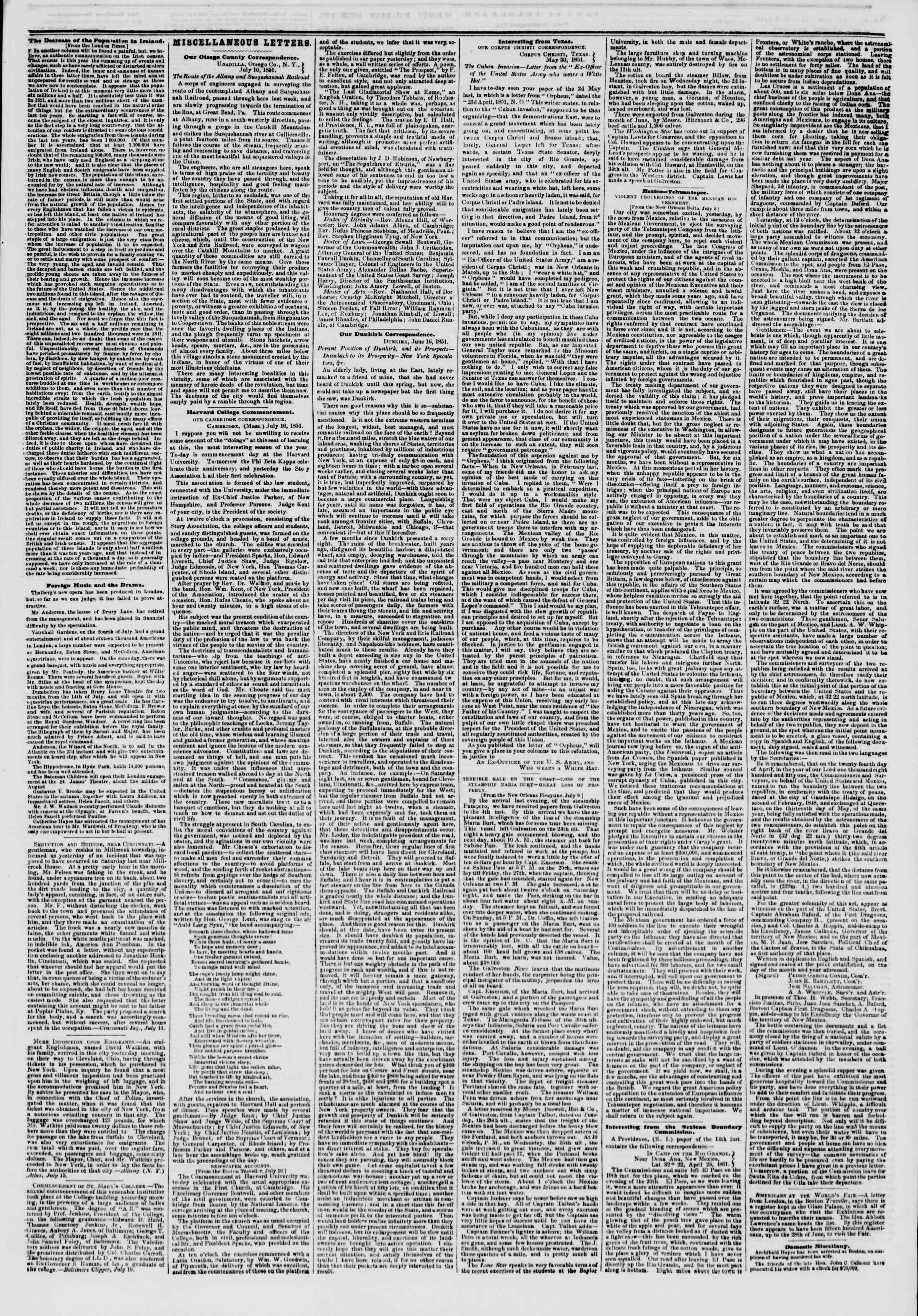 Newspaper of The New York Herald dated July 18, 1851 Page 3