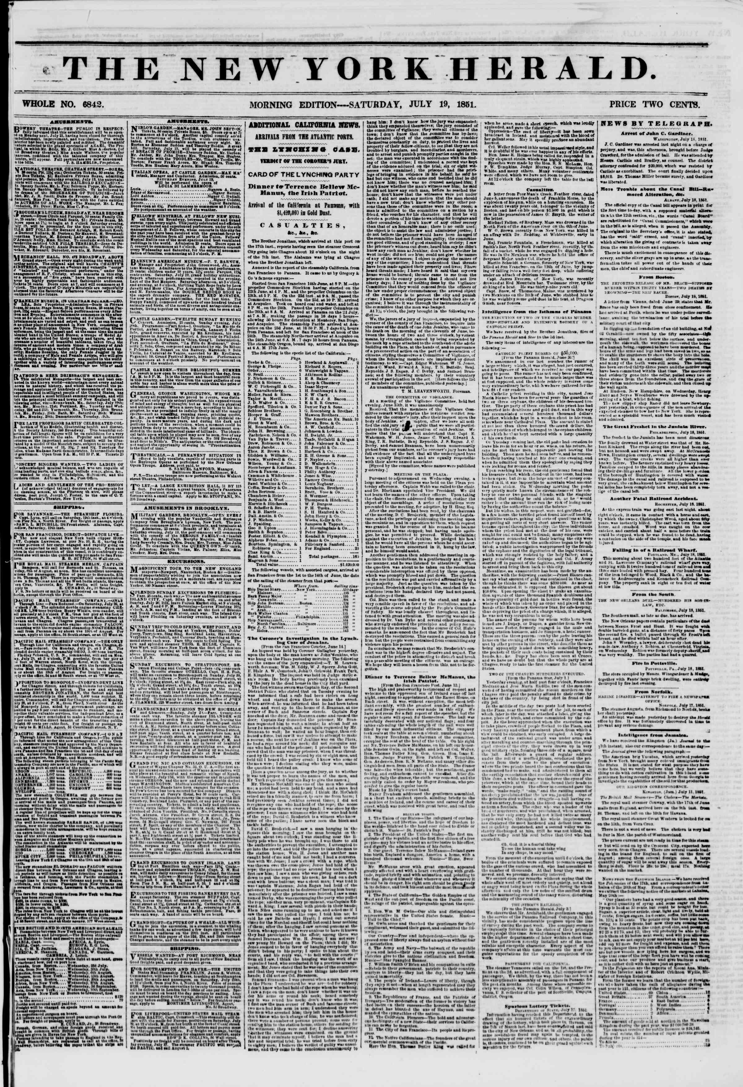 Newspaper of The New York Herald dated July 19, 1851 Page 1