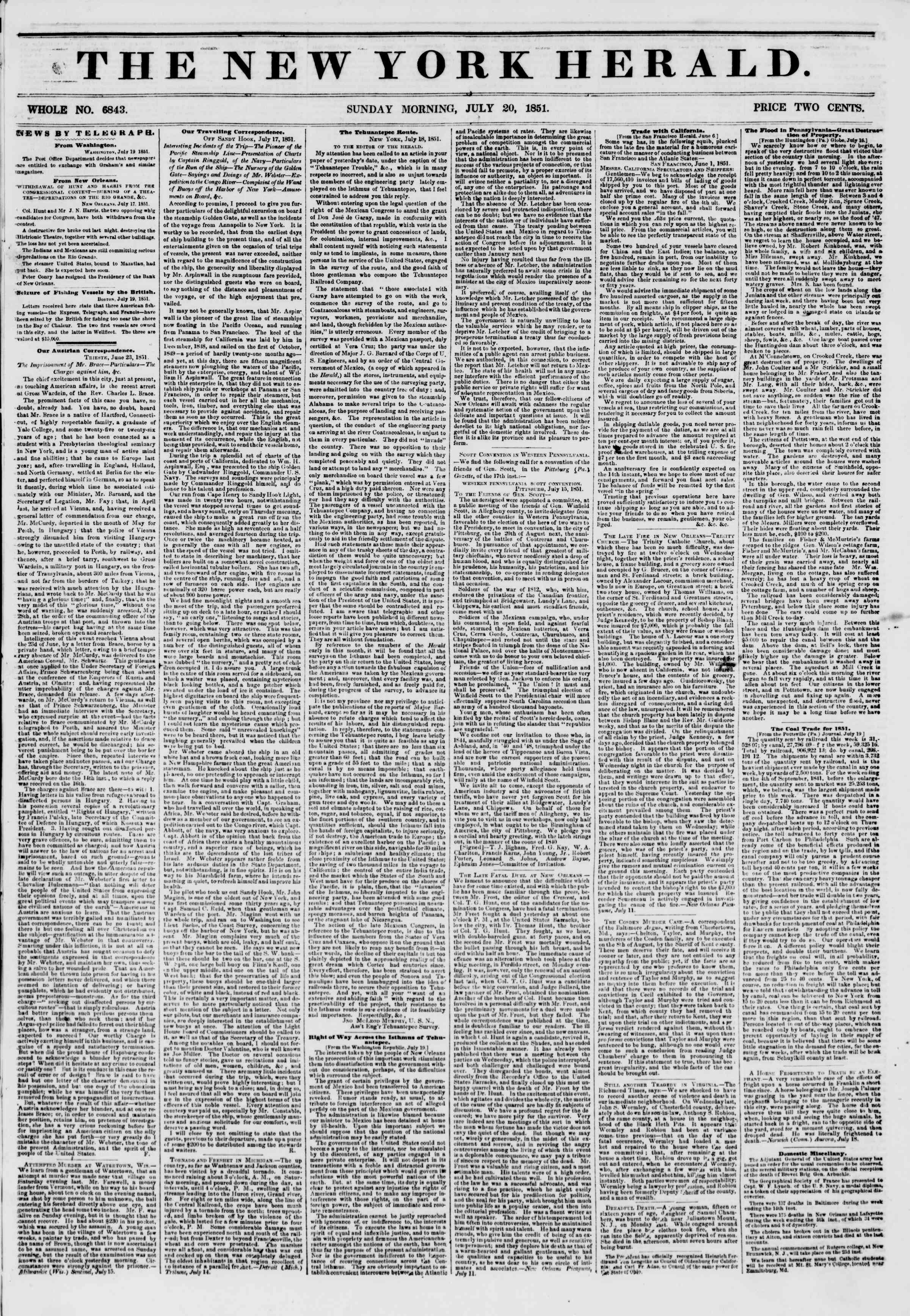 Newspaper of The New York Herald dated July 20, 1851 Page 1