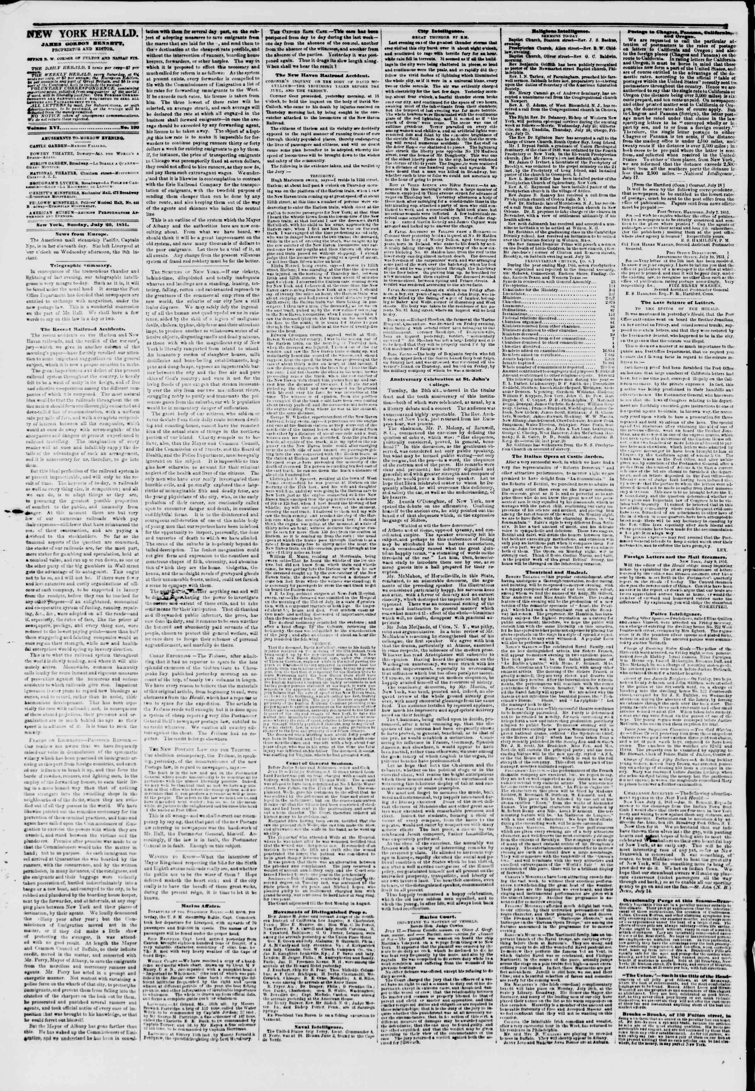 Newspaper of The New York Herald dated July 20, 1851 Page 2