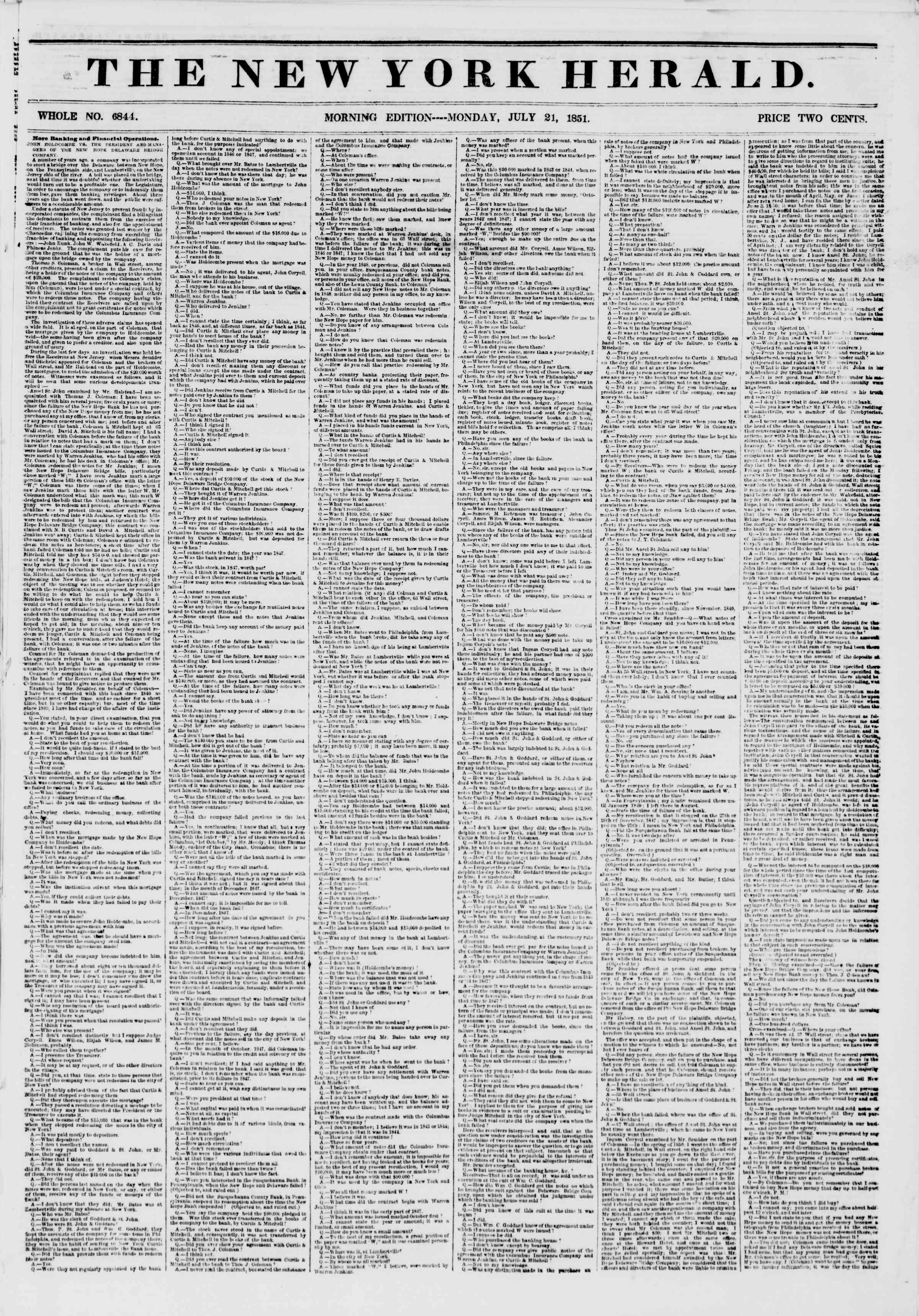 Newspaper of The New York Herald dated July 21, 1851 Page 1