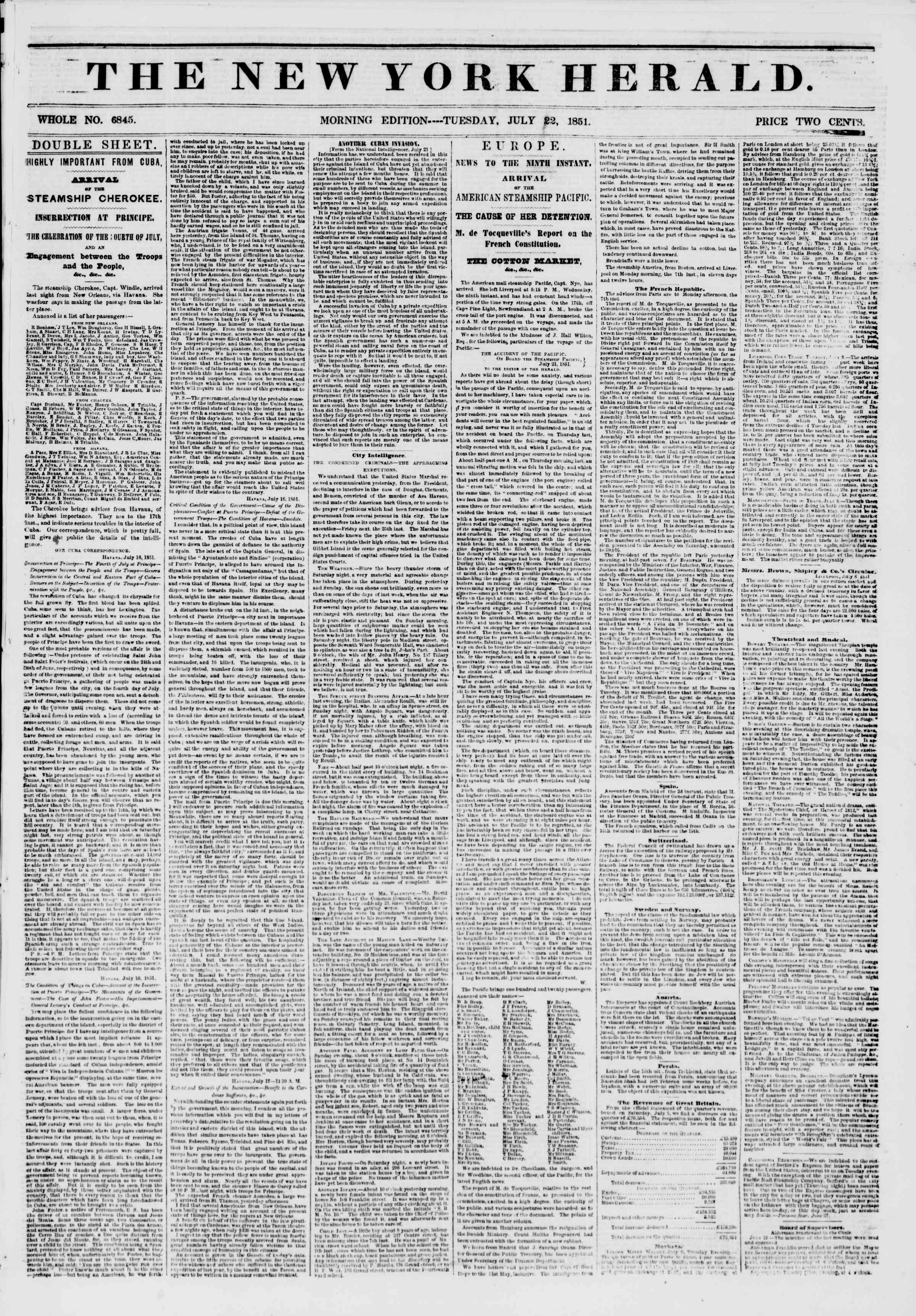 Newspaper of The New York Herald dated July 22, 1851 Page 1