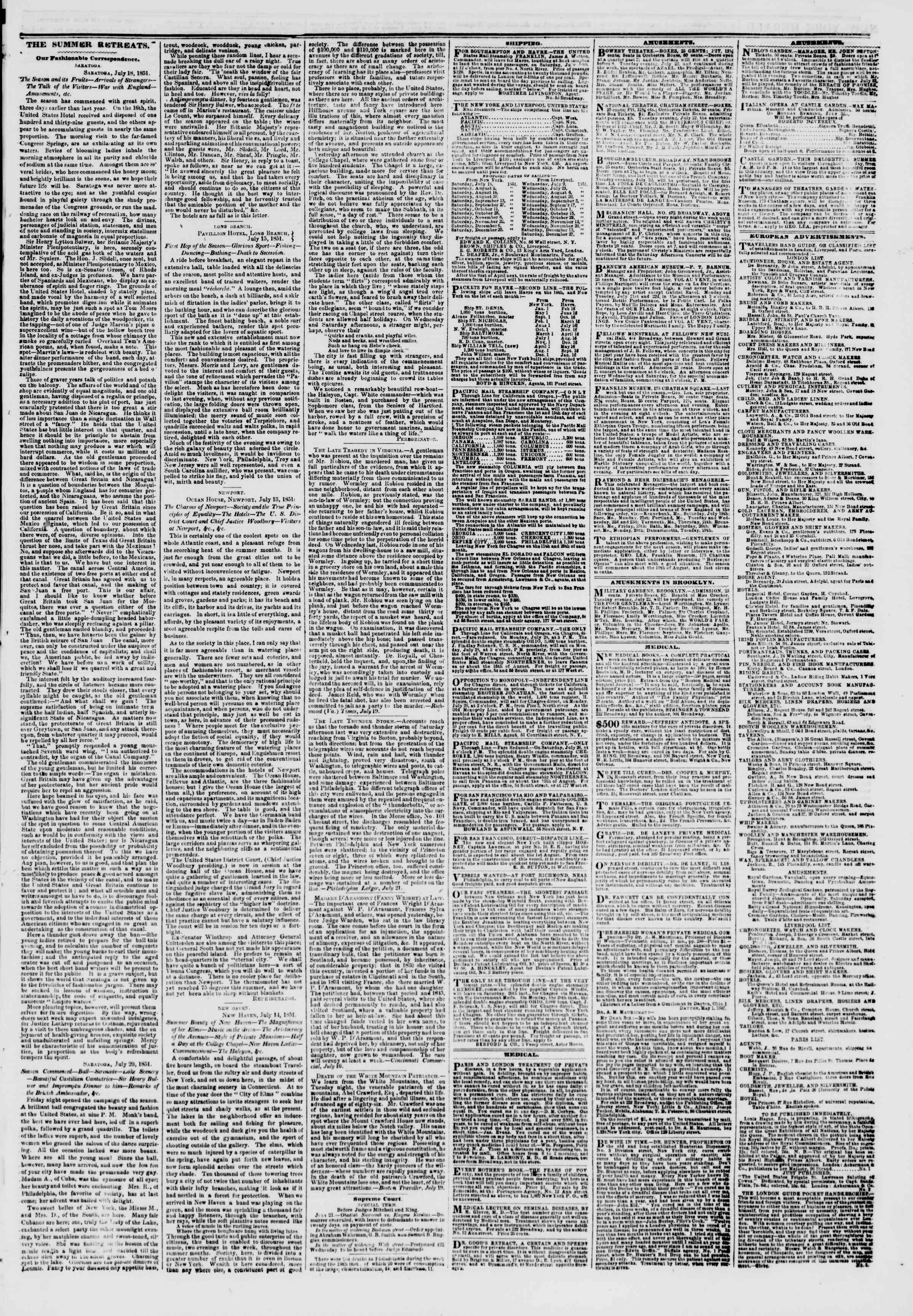 Newspaper of The New York Herald dated July 22, 1851 Page 3