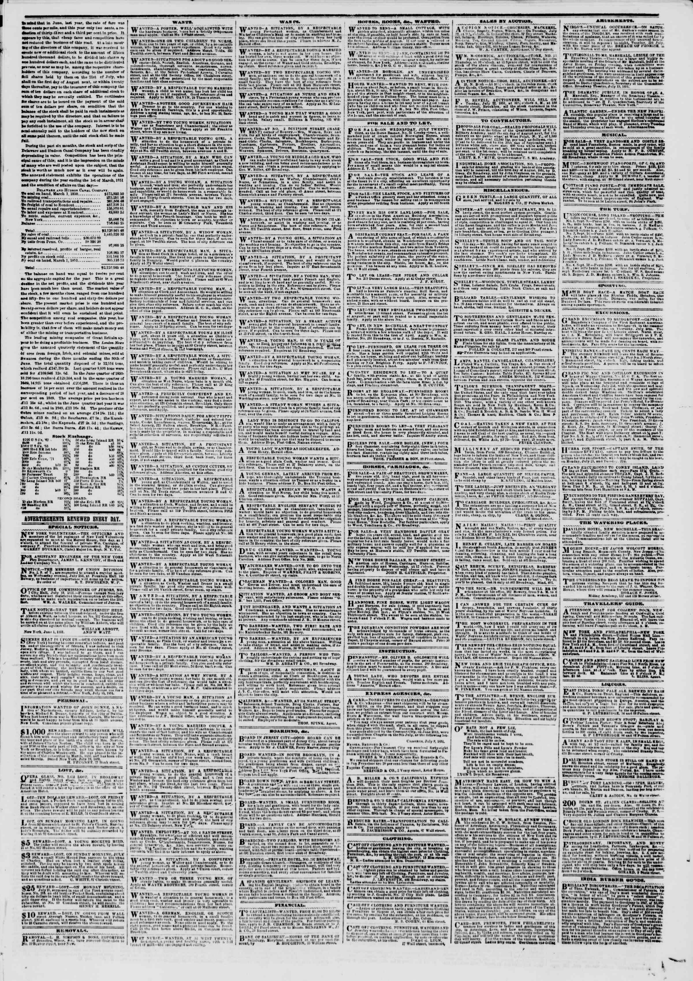 Newspaper of The New York Herald dated July 22, 1851 Page 5