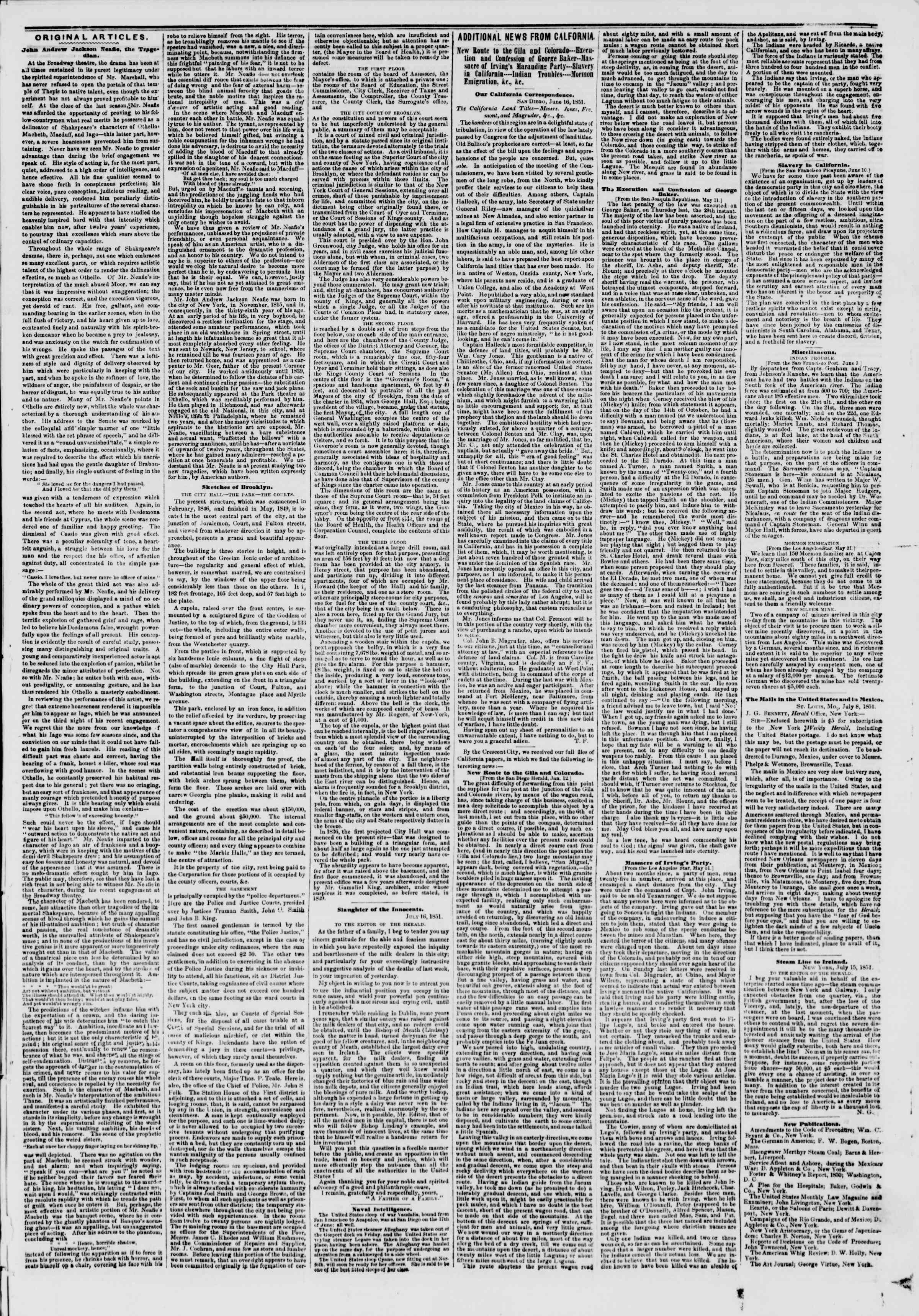 Newspaper of The New York Herald dated July 22, 1851 Page 7