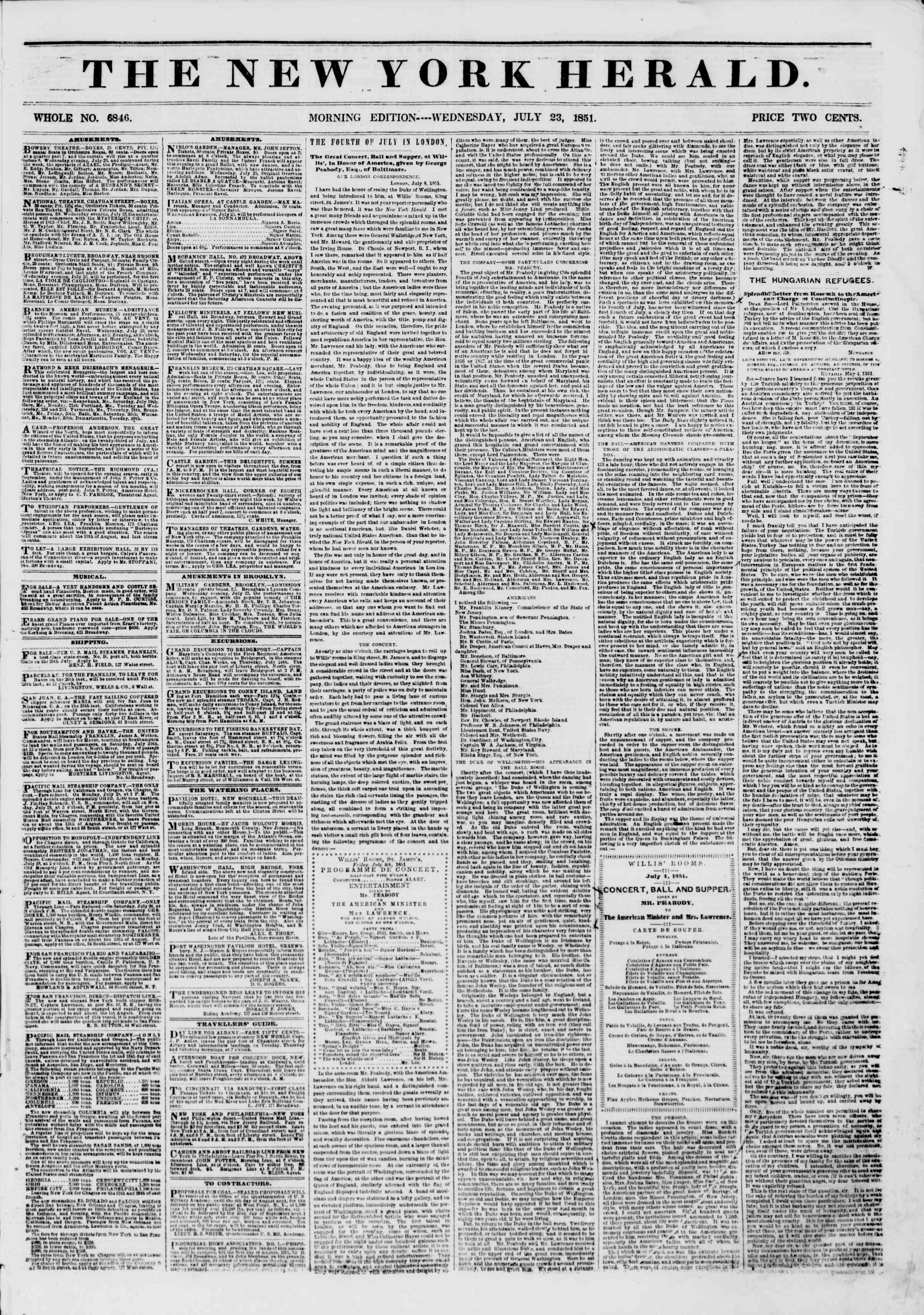 Newspaper of The New York Herald dated July 23, 1851 Page 1